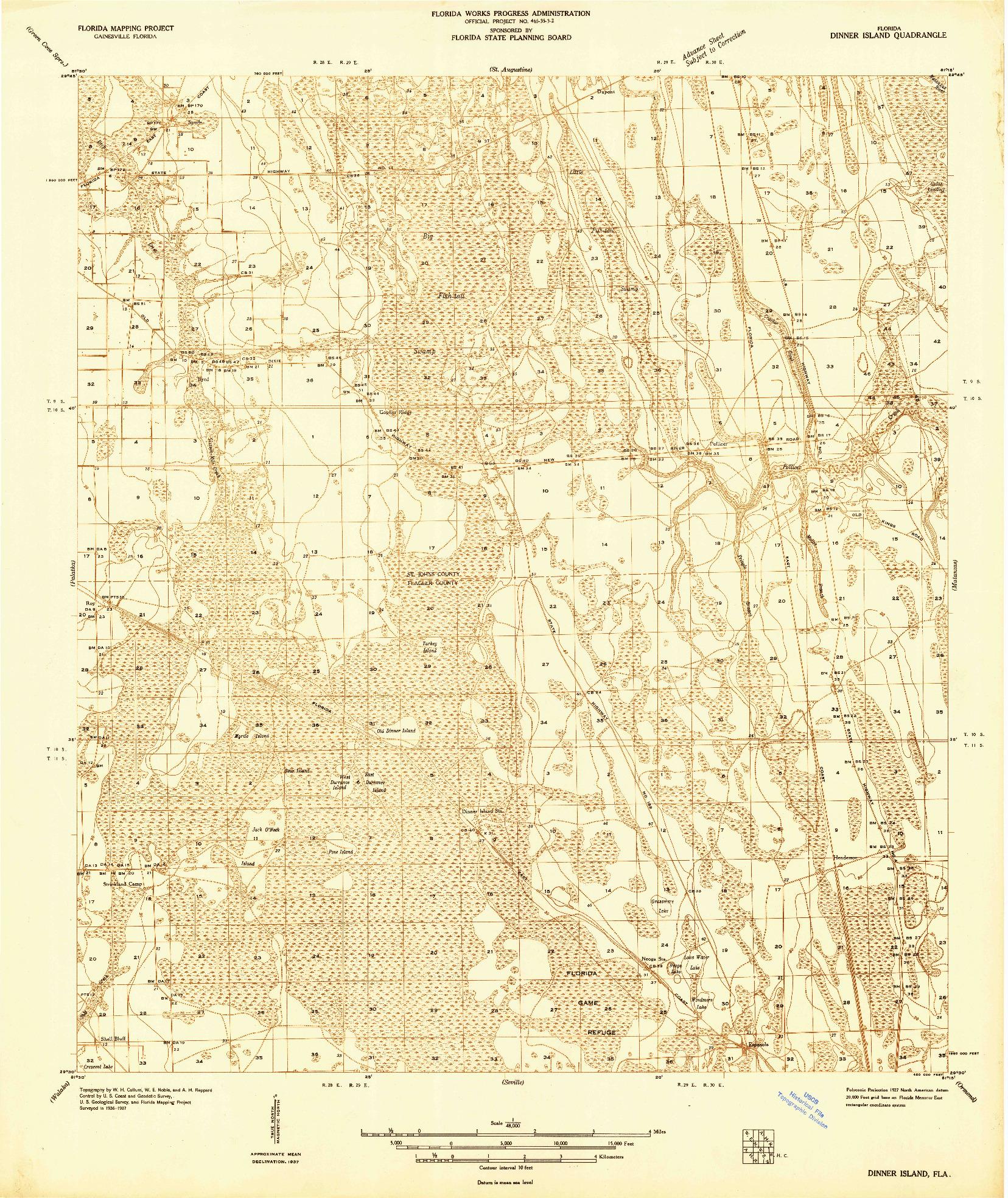 USGS 1:48000-SCALE QUADRANGLE FOR DINNER ISLAND, FL 1937