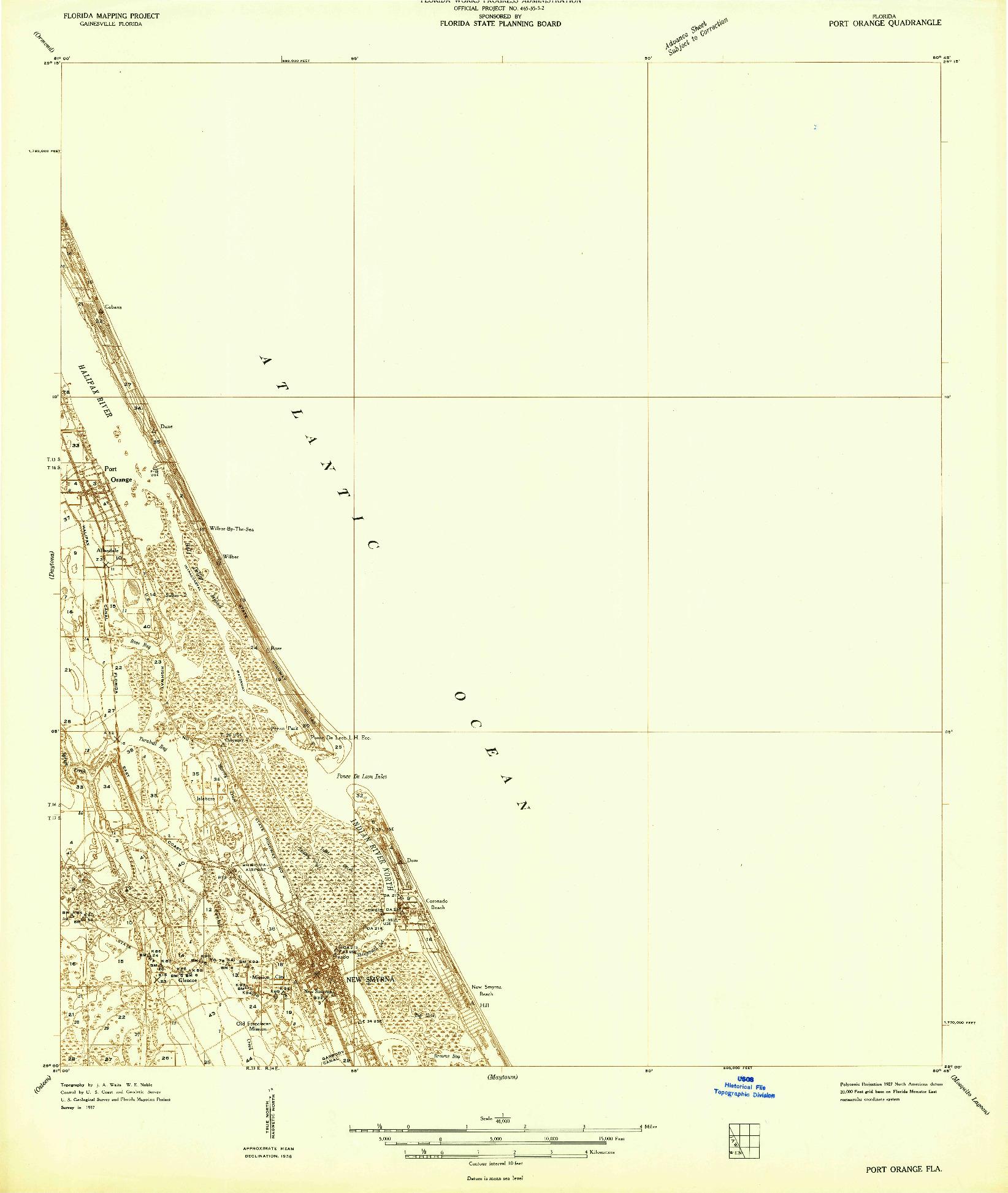 USGS 1:48000-SCALE QUADRANGLE FOR PORT ORANGE, FL 1937