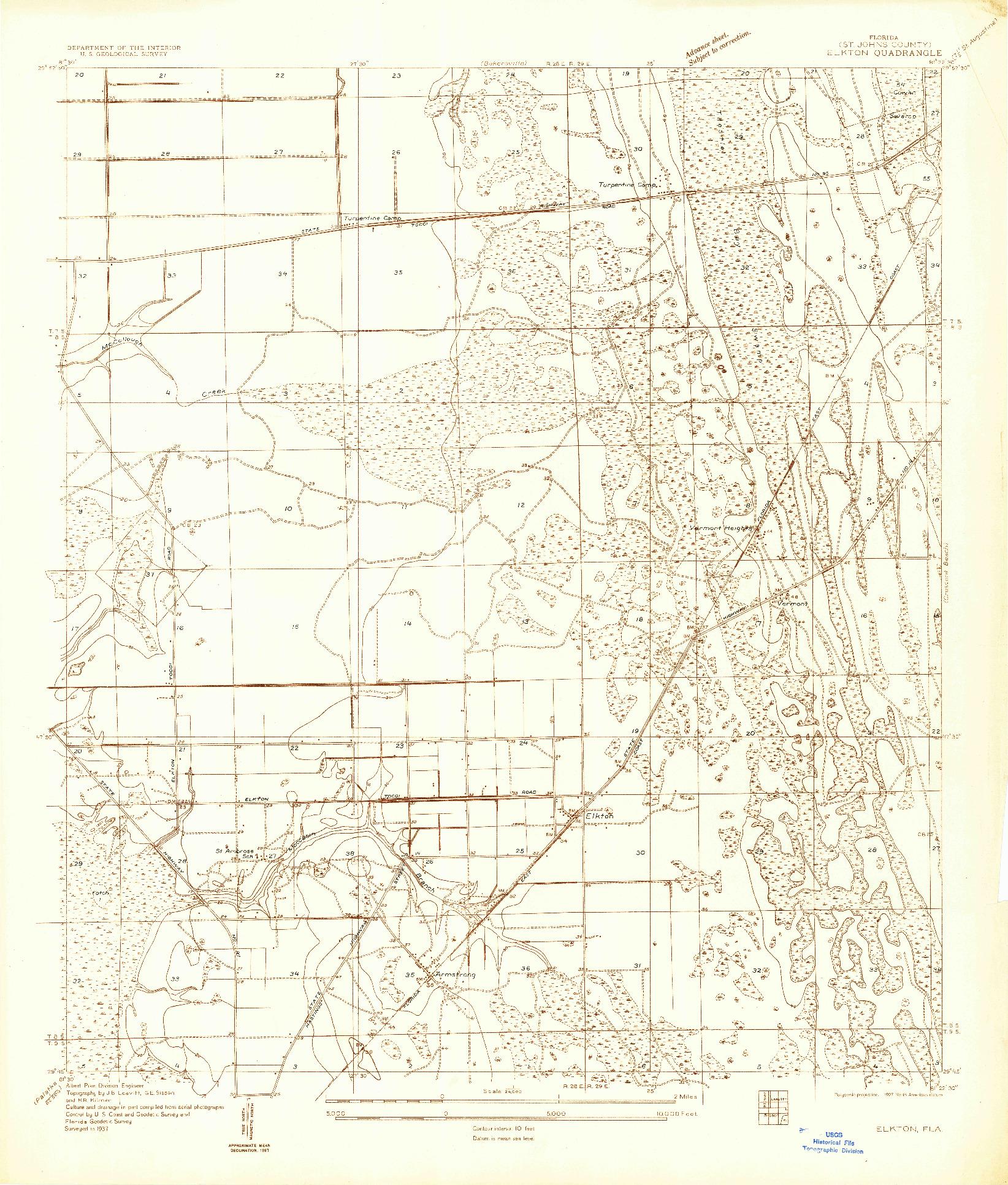 USGS 1:24000-SCALE QUADRANGLE FOR ELKTON, FL 1937