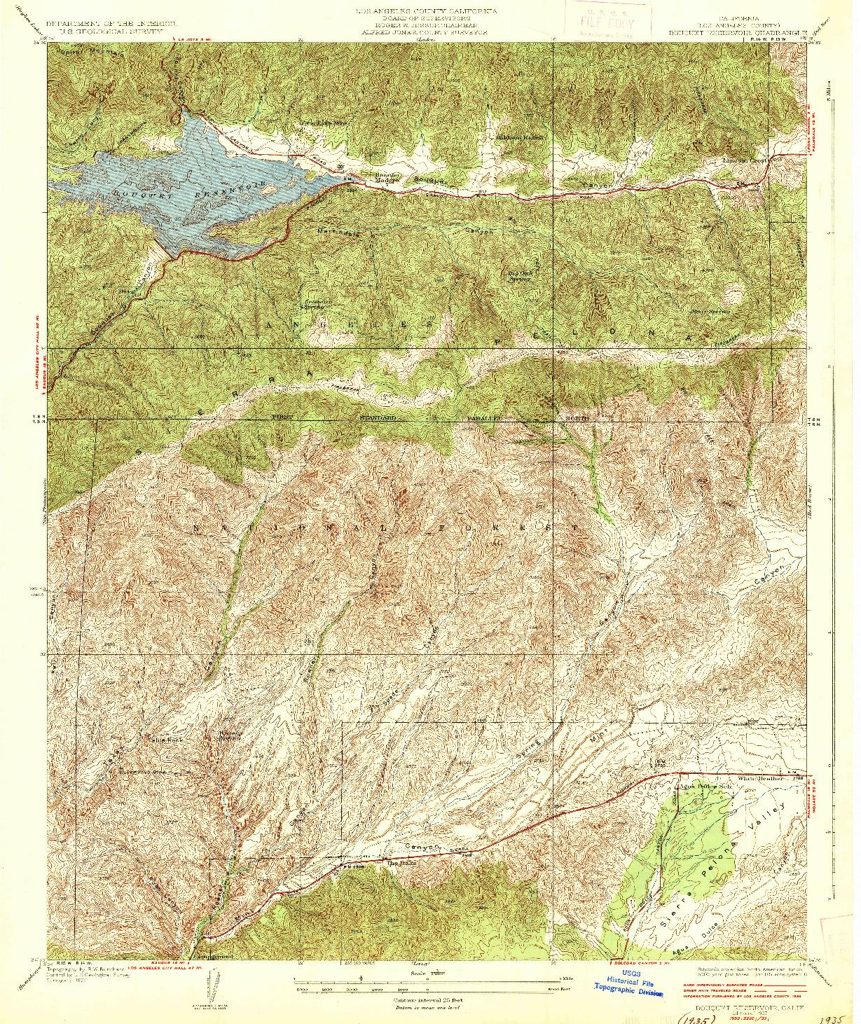 USGS 1:24000-SCALE QUADRANGLE FOR BOUQUET RESERVOIR, CA 1937