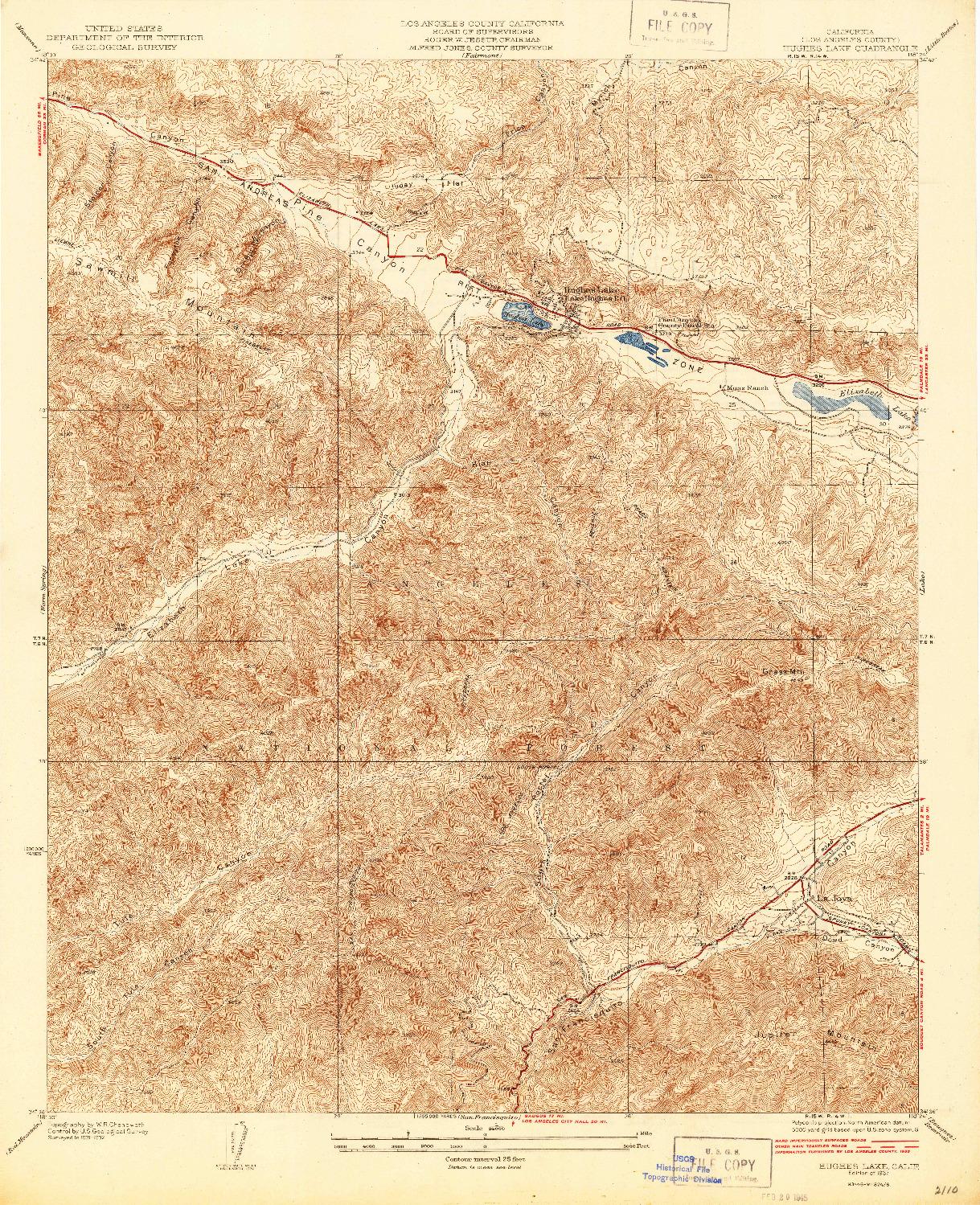 USGS 1:24000-SCALE QUADRANGLE FOR HUGHES LAKE, CA 1937