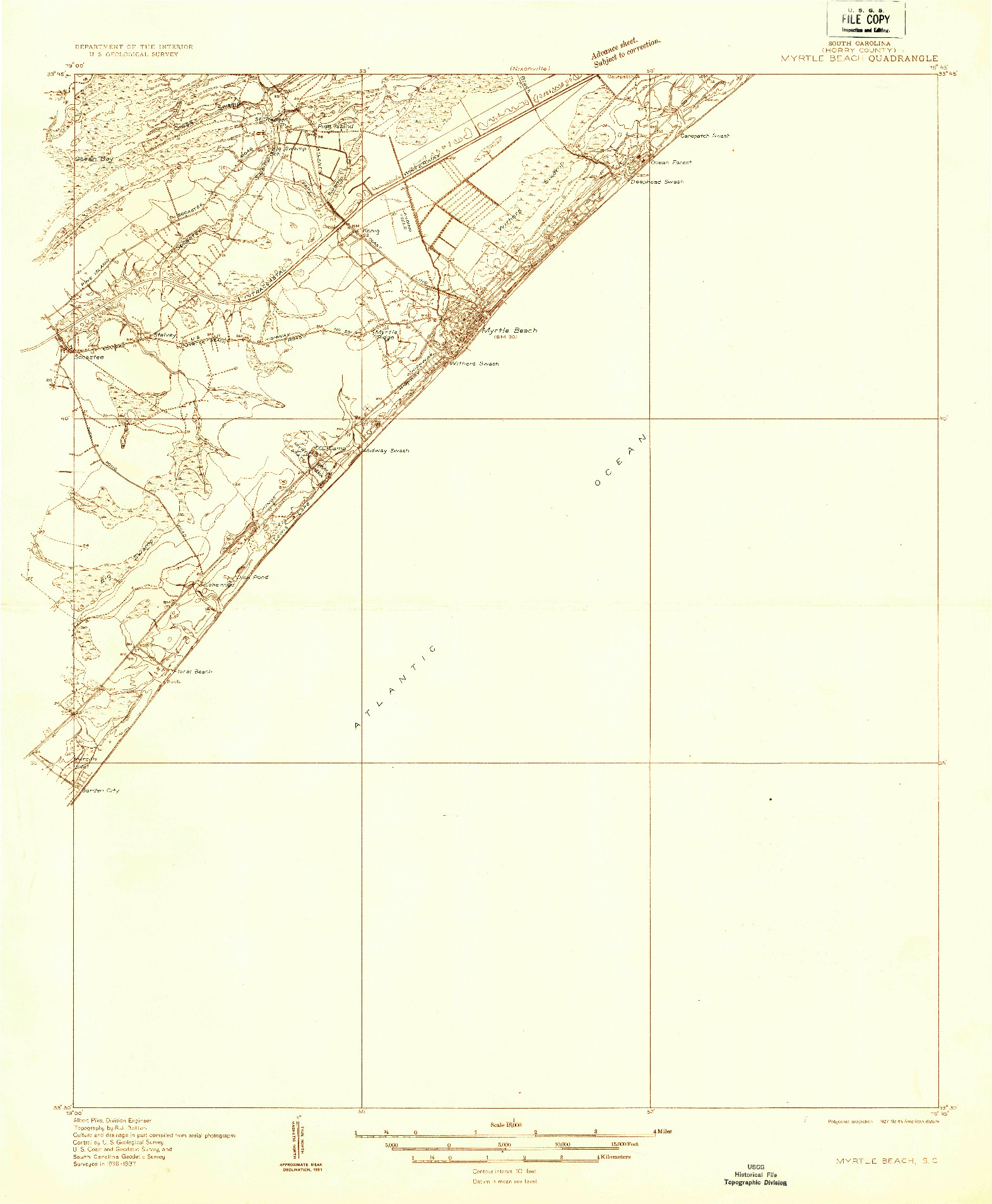 USGS 1:48000-SCALE QUADRANGLE FOR MYRTLE BEACH, SC 1937