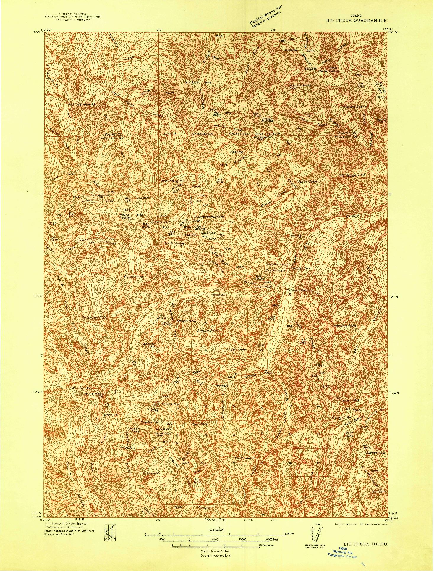 USGS 1:48000-SCALE QUADRANGLE FOR BIG CREEK, ID 1937