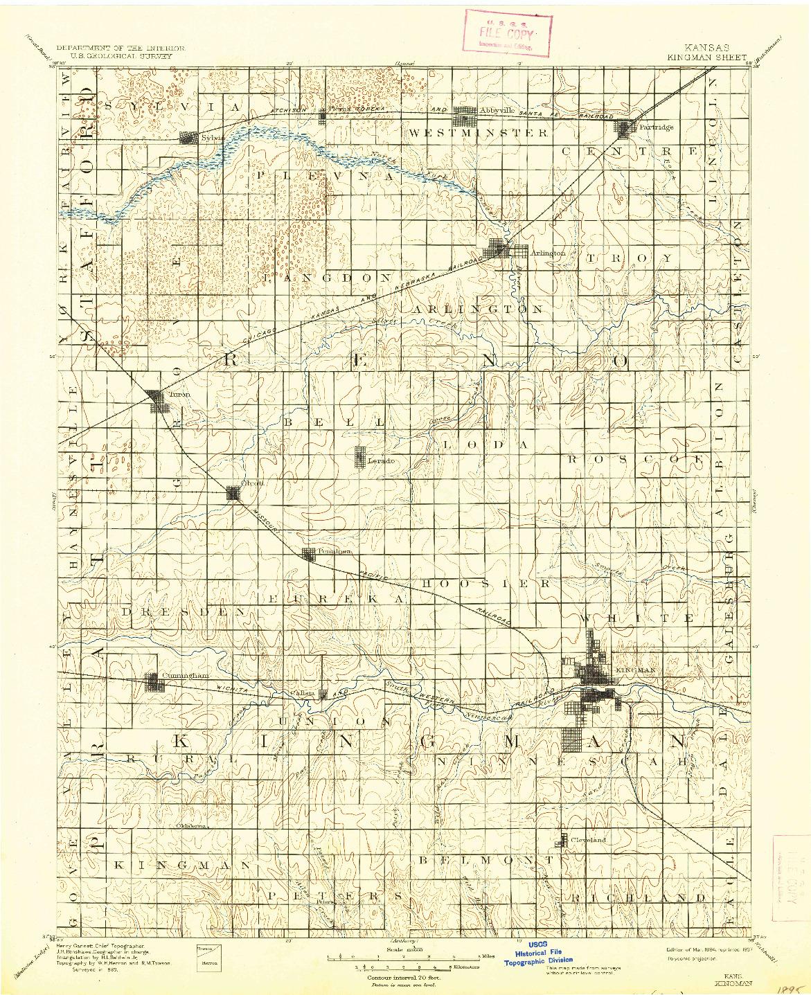 USGS 1:125000-SCALE QUADRANGLE FOR KINGMAN, KS 1894