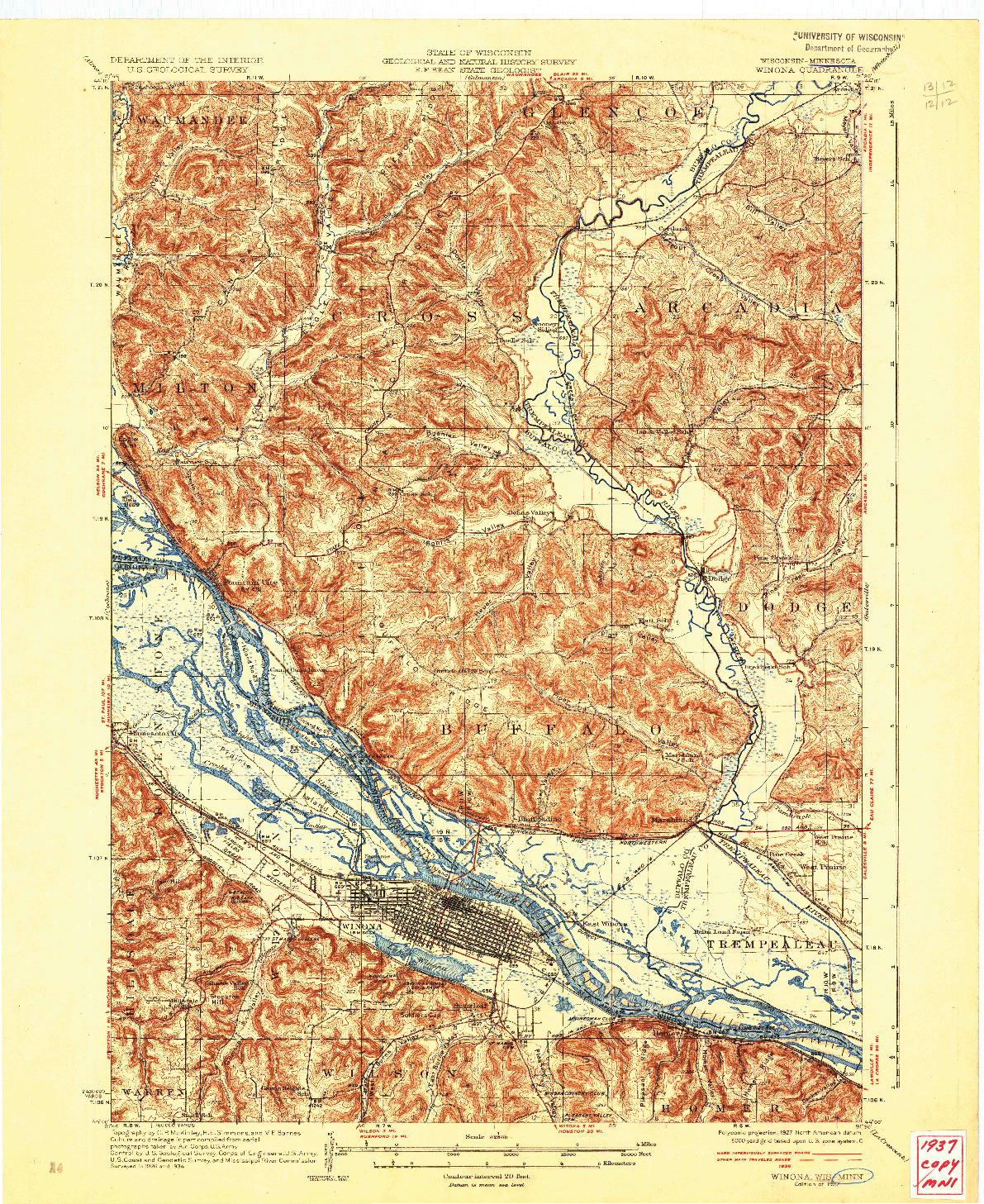 USGS 1:62500-SCALE QUADRANGLE FOR WINONA, WI 1937