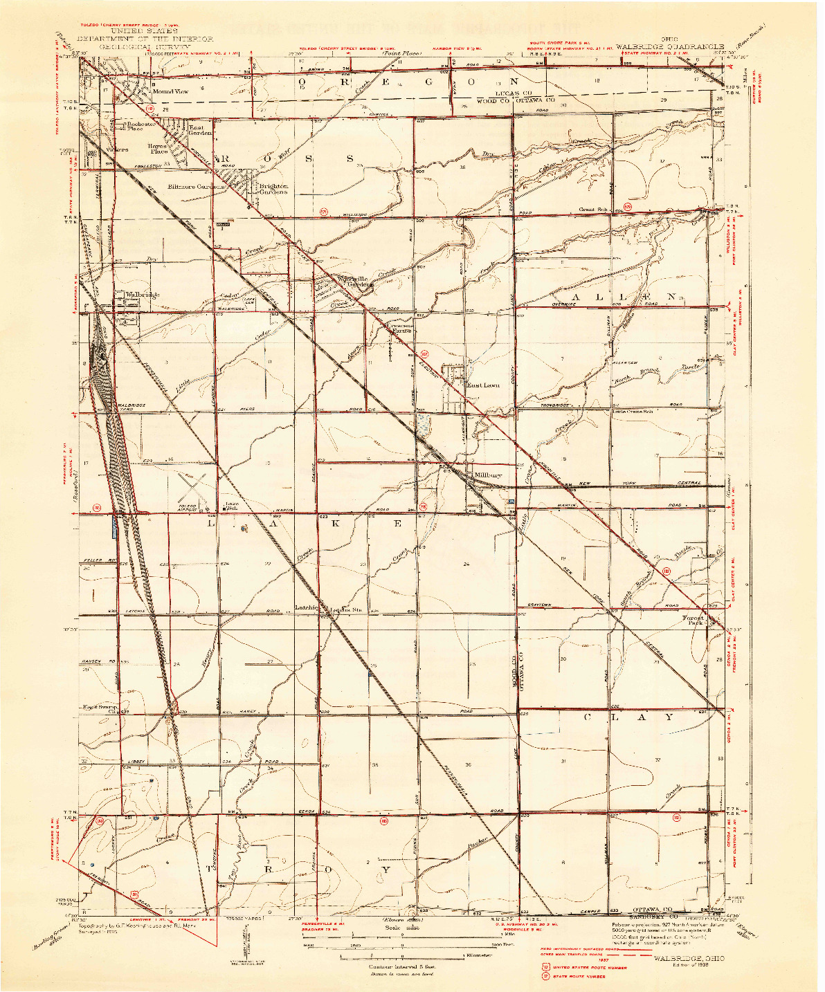 USGS 1:31680-SCALE QUADRANGLE FOR WALBRIDGE, OH 1938