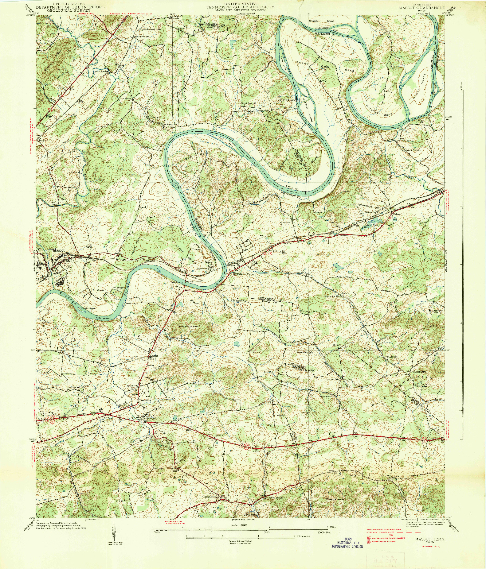 USGS 1:24000-SCALE QUADRANGLE FOR MASCOT, TN 1938