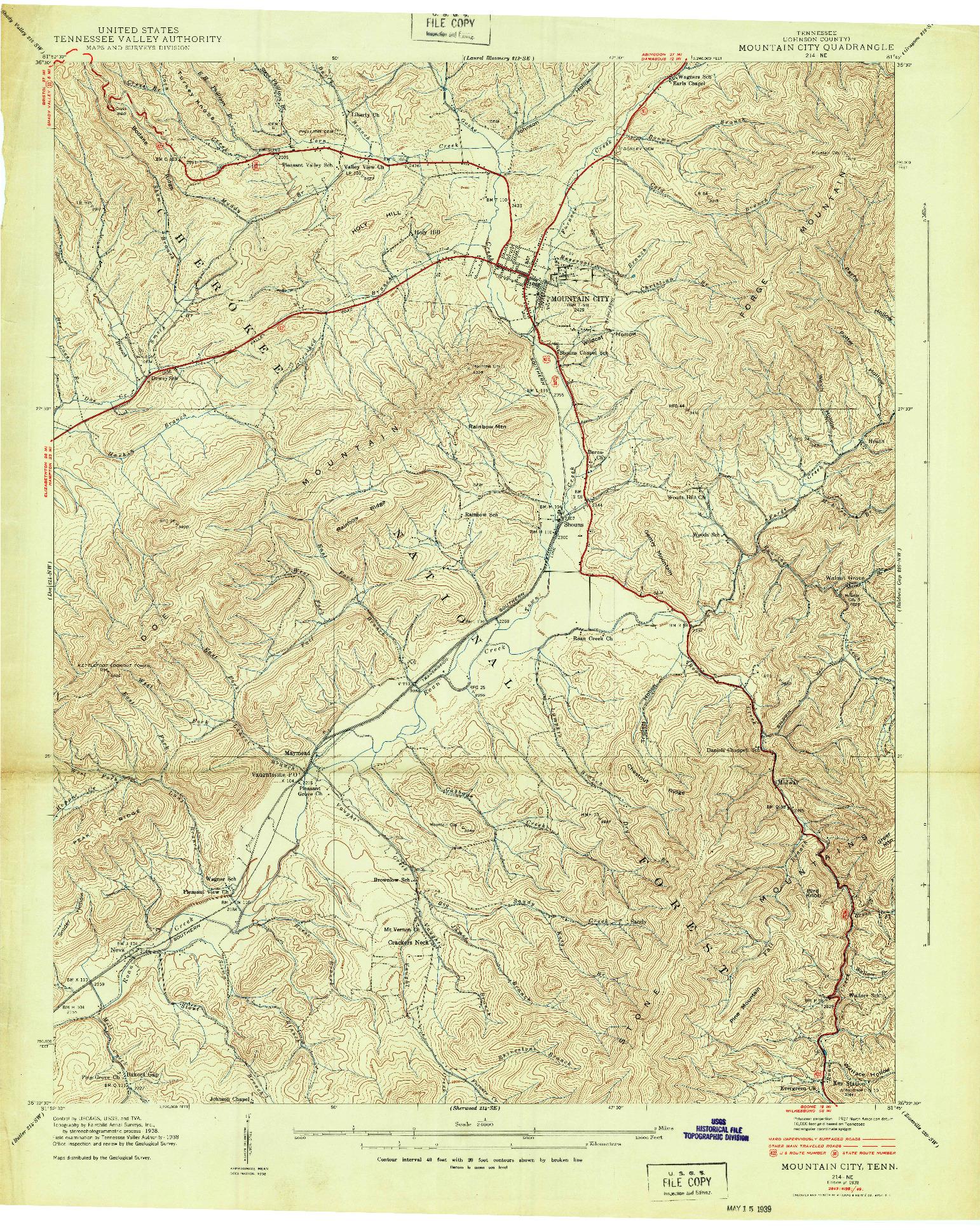 USGS 1:24000-SCALE QUADRANGLE FOR MOUNTAIN CITY, TN 1938