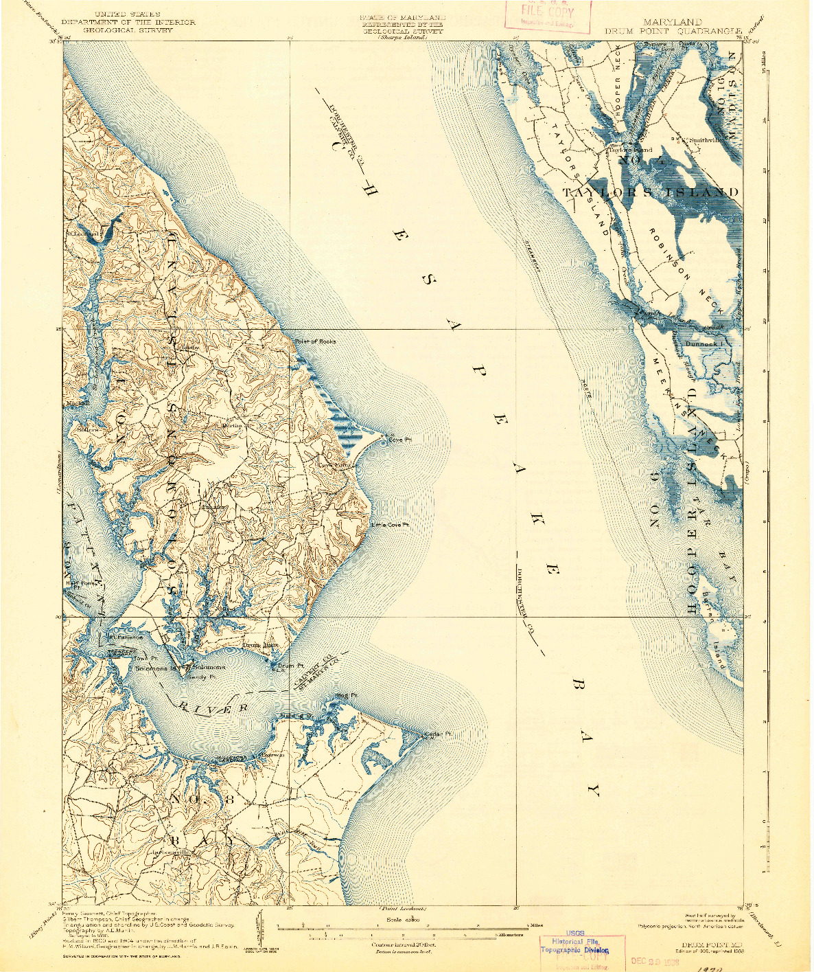 USGS 1:62500-SCALE QUADRANGLE FOR DRUM POINT, MD 1905