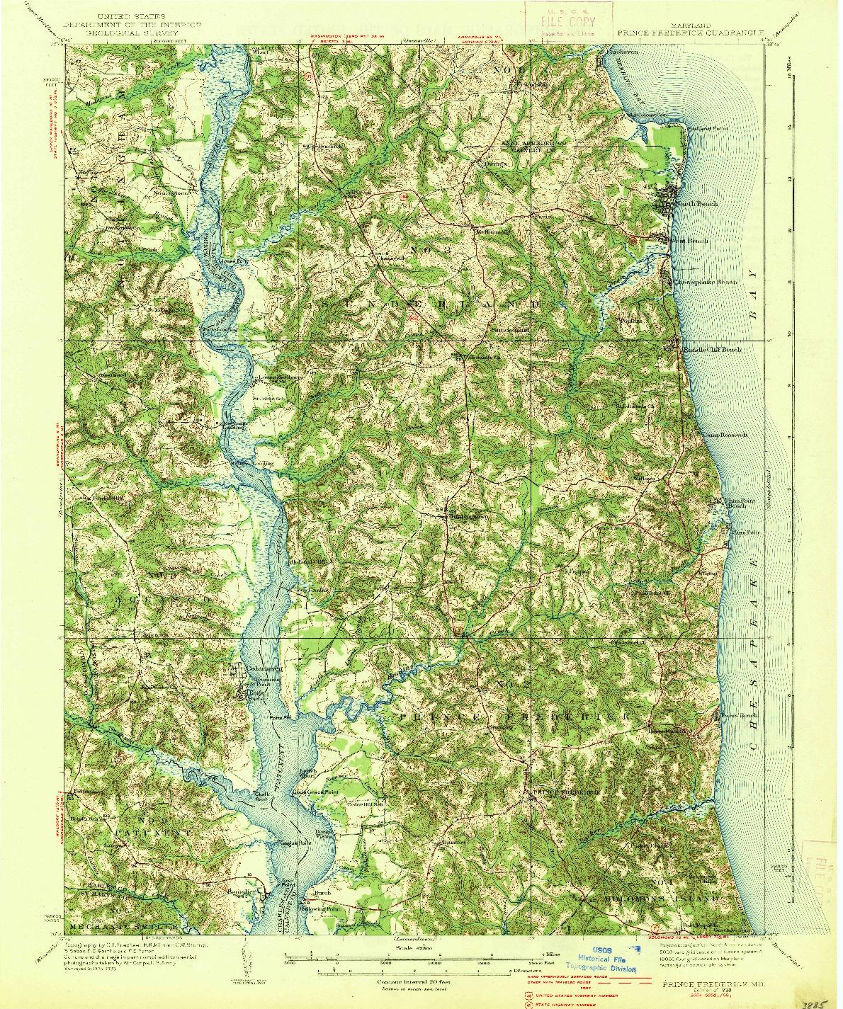 USGS 1:62500-SCALE QUADRANGLE FOR PRINCE FREDERICK, MD 1938