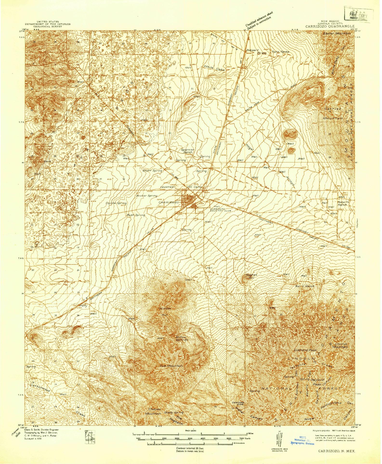 USGS 1:48000-SCALE QUADRANGLE FOR CARRIZOZO, NM 1938