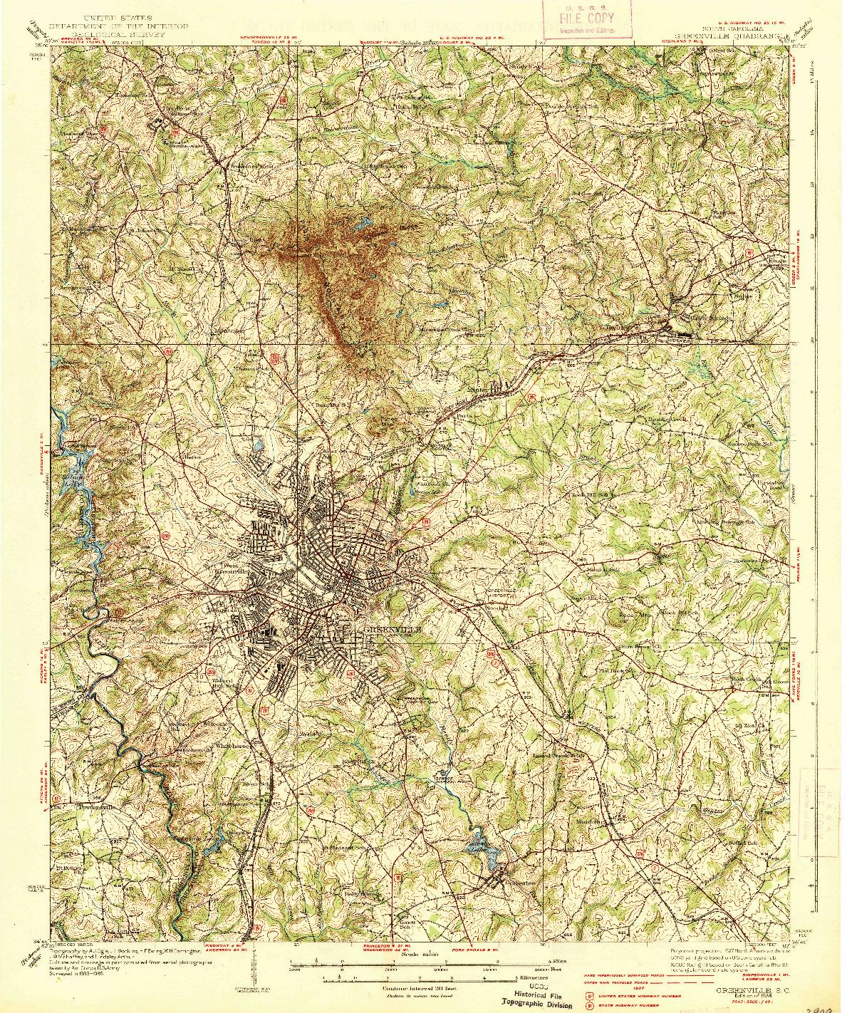USGS 1:62500-SCALE QUADRANGLE FOR GREENVILLE, SC 1938