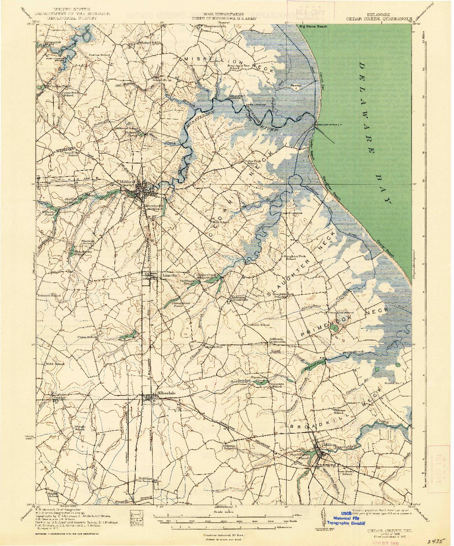 USGS 1:62500-SCALE QUADRANGLE FOR CEDAR CREEK, DE 1938
