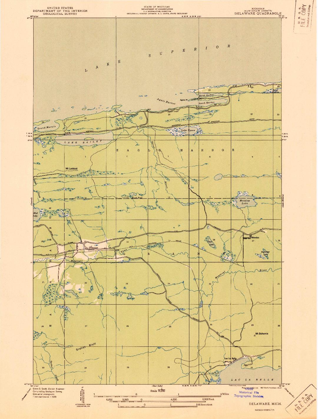 USGS 1:31680-SCALE QUADRANGLE FOR DELAWARE, MI 1938