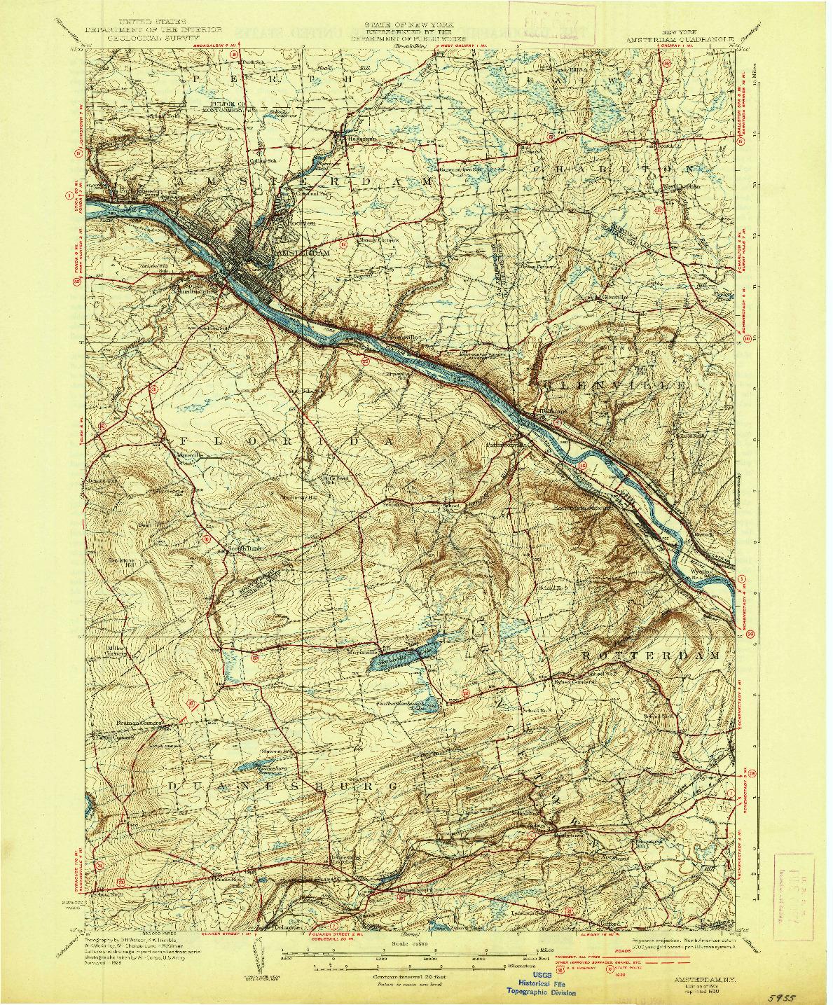 USGS 1:62500-SCALE QUADRANGLE FOR AMSTERDAM, NY 1931