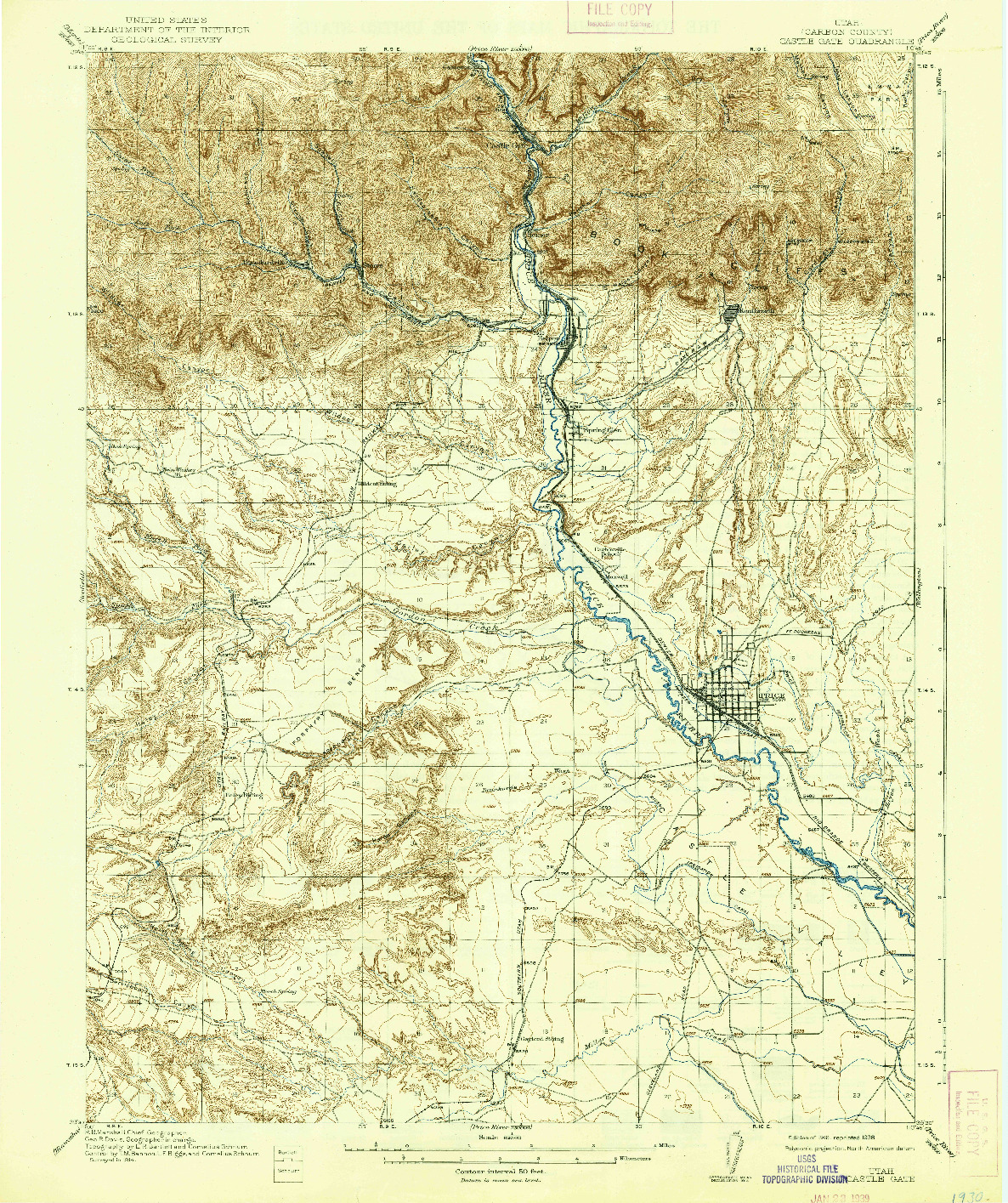 USGS 1:62500-SCALE QUADRANGLE FOR CASTLE GATE, UT 1916