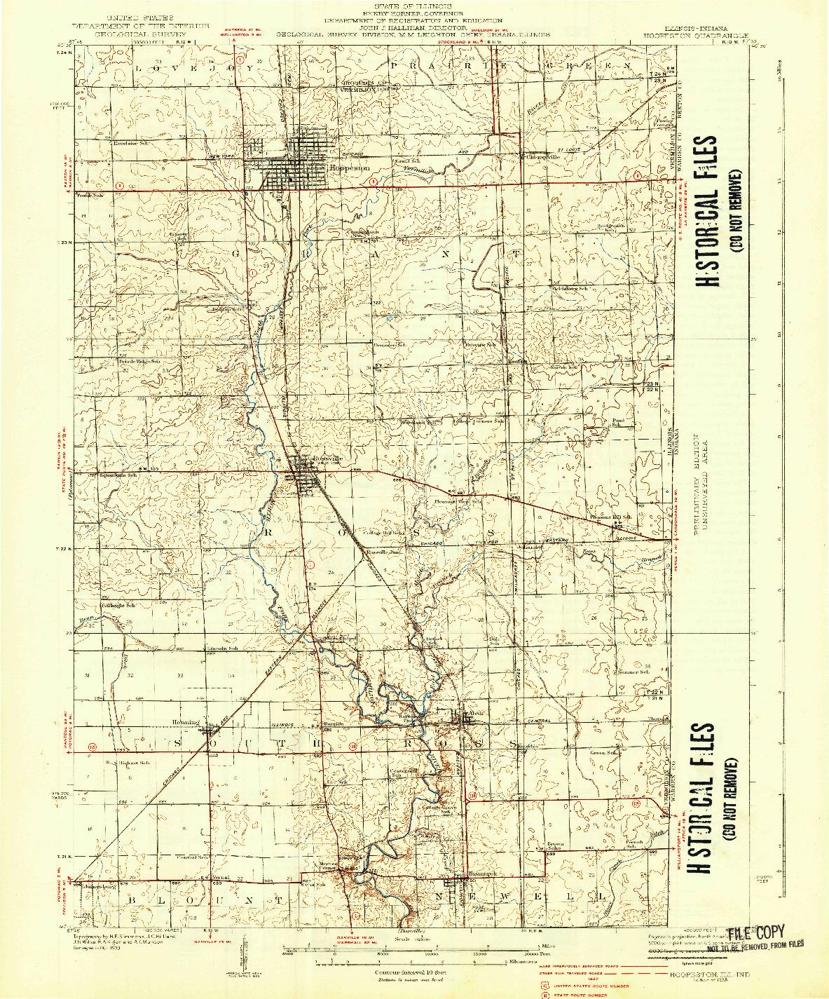 USGS 1:62500-SCALE QUADRANGLE FOR HOOPESTON, IL 1938