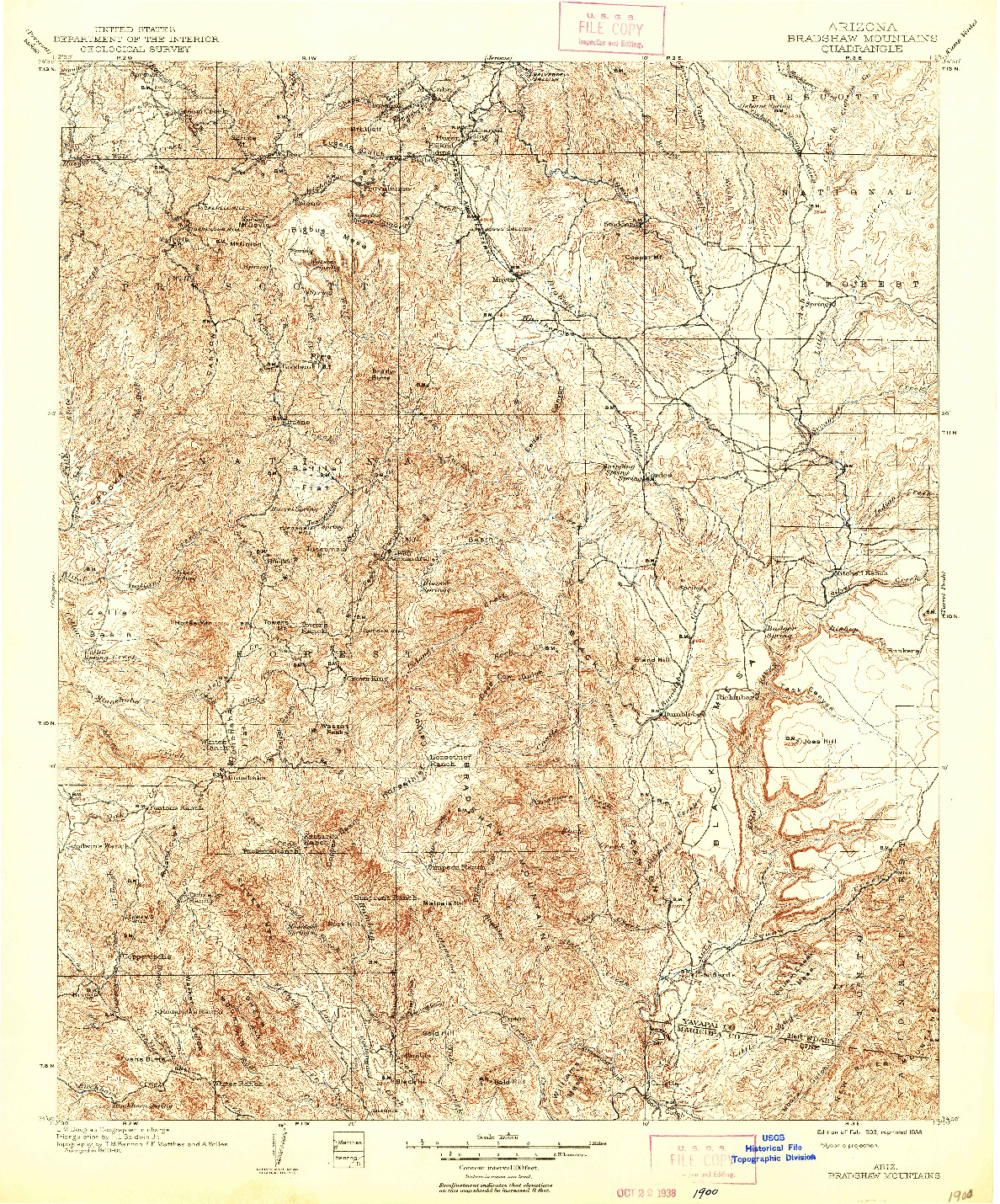 USGS 1:125000-SCALE QUADRANGLE FOR BRADSHAW MOUNTAINS, AZ 1903