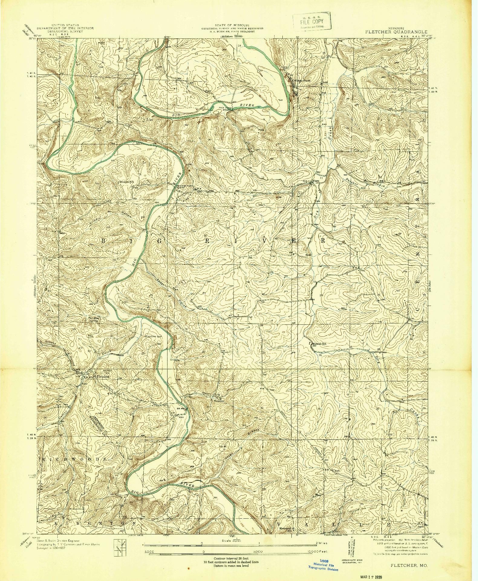 USGS 1:24000-SCALE QUADRANGLE FOR FLETCHER, MO 1938