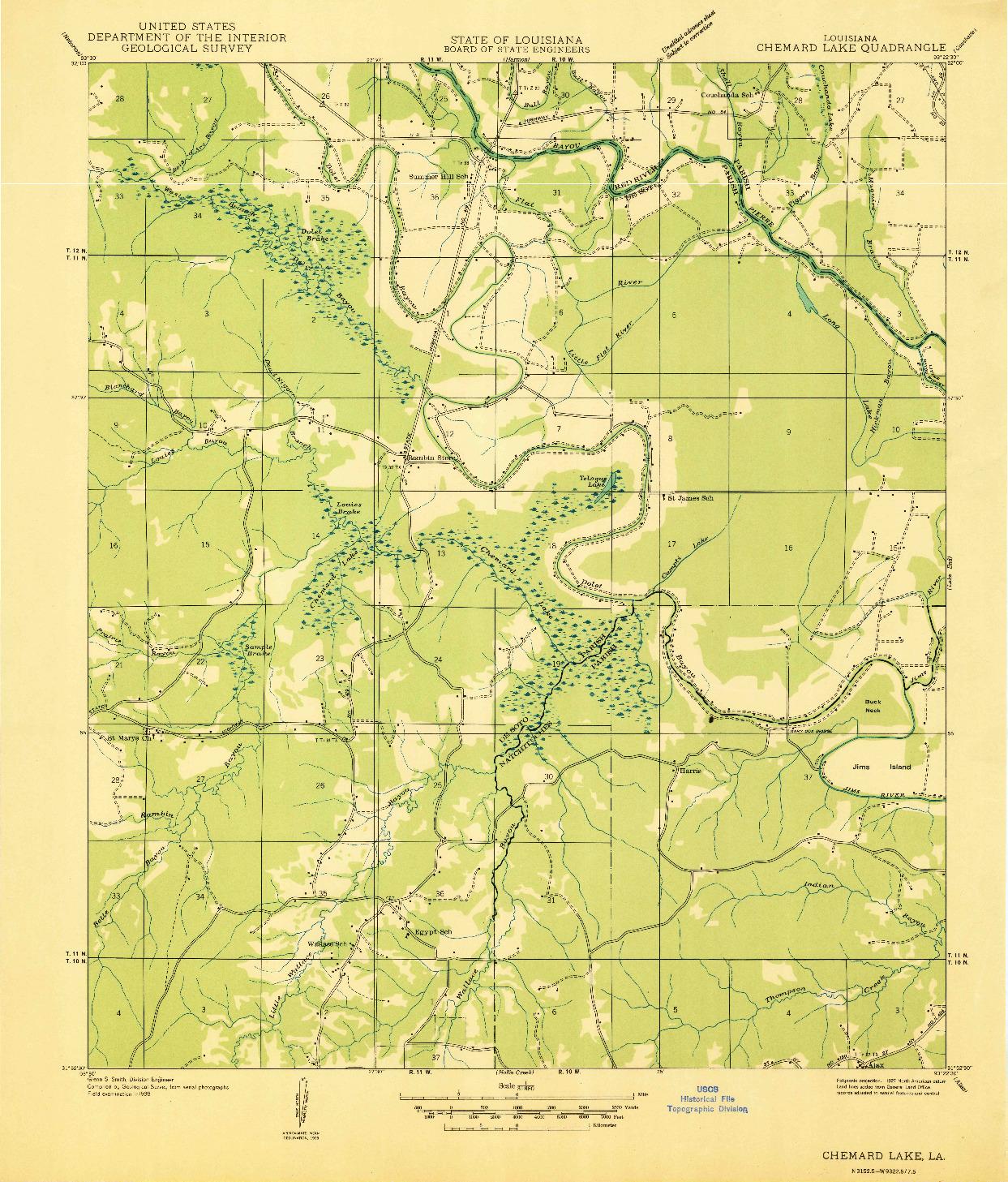 USGS 1:31680-SCALE QUADRANGLE FOR CHEMARD LAKE, LA 1938