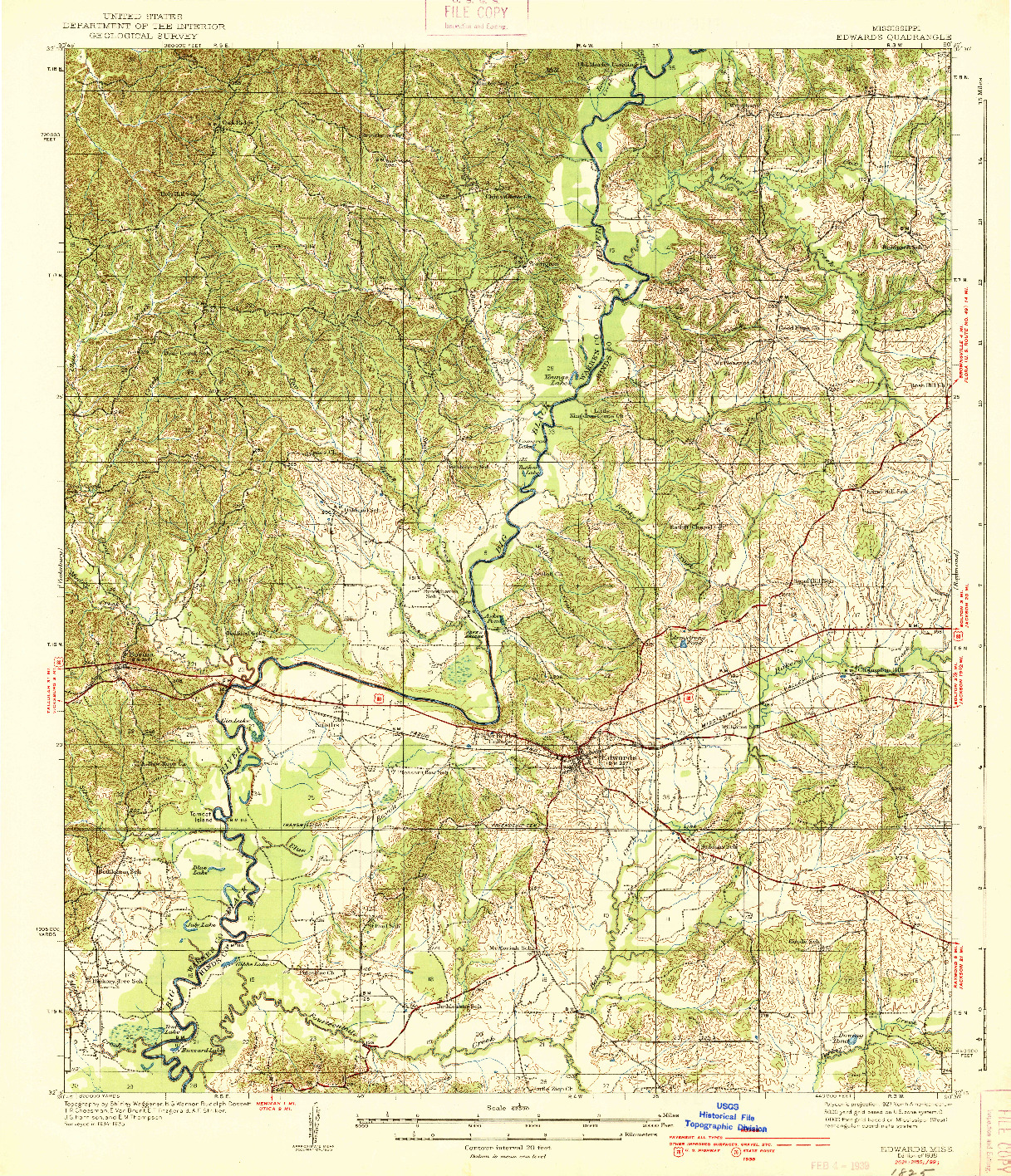 USGS 1:62500-SCALE QUADRANGLE FOR EDWARDS, MS 1938