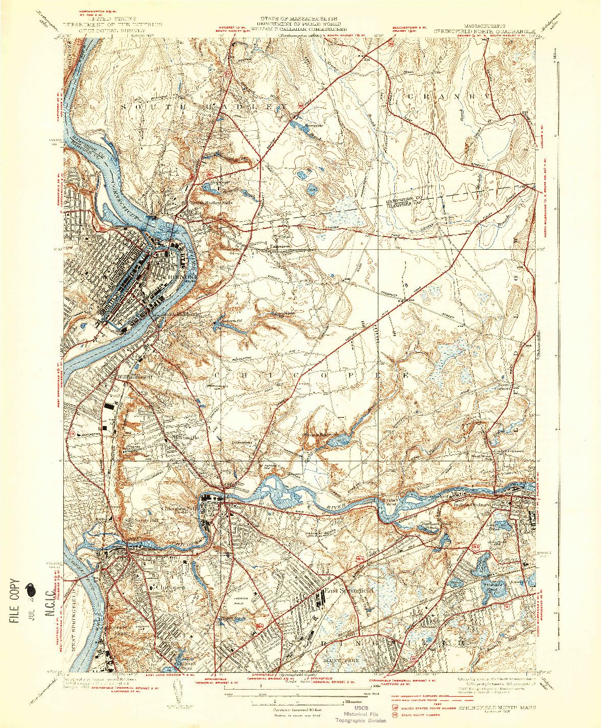 USGS 1:31680-SCALE QUADRANGLE FOR SPRINGFIELD NORTH, MA 1938