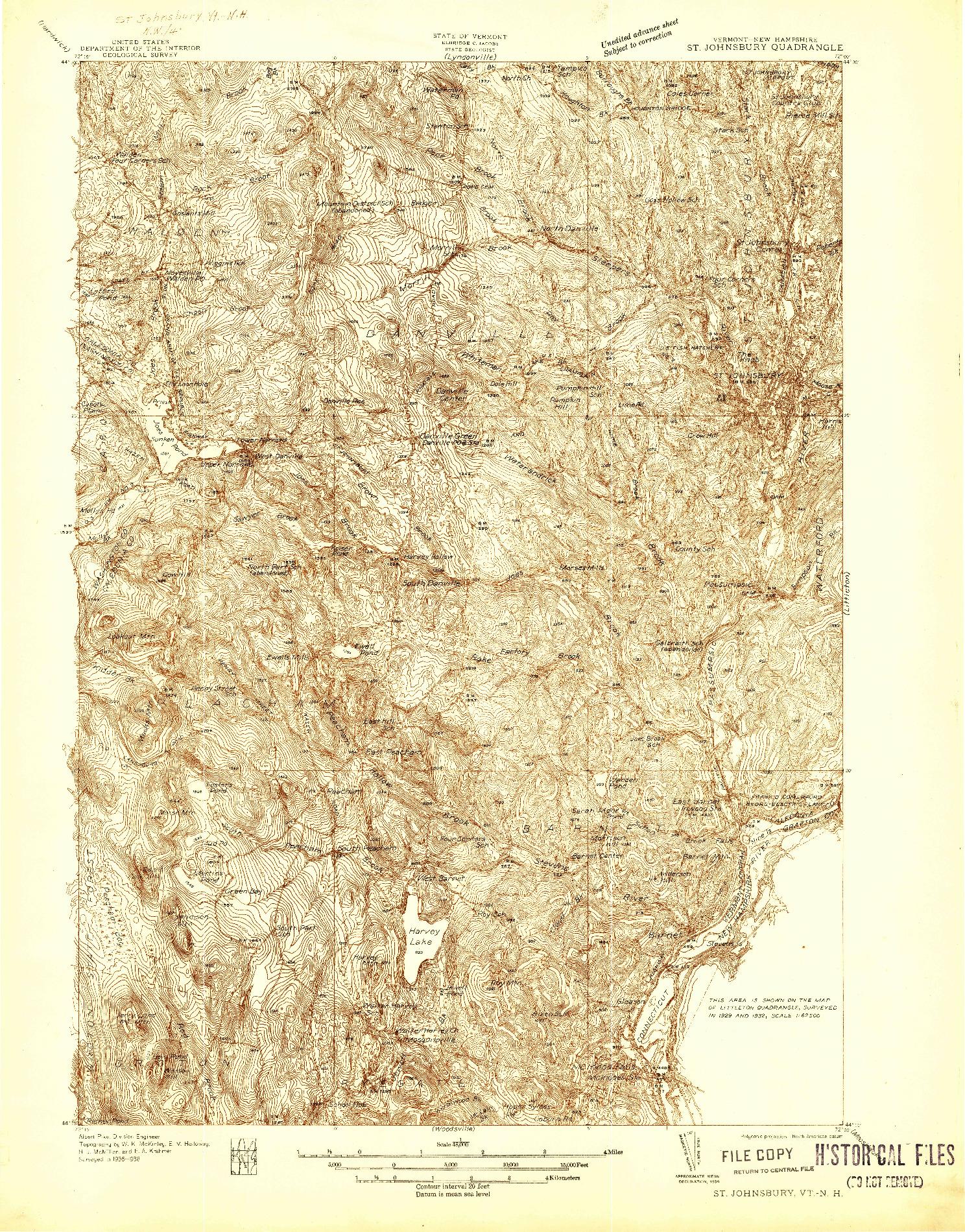 USGS 1:48000-SCALE QUADRANGLE FOR ST. JOHNSBURY, VT 1938
