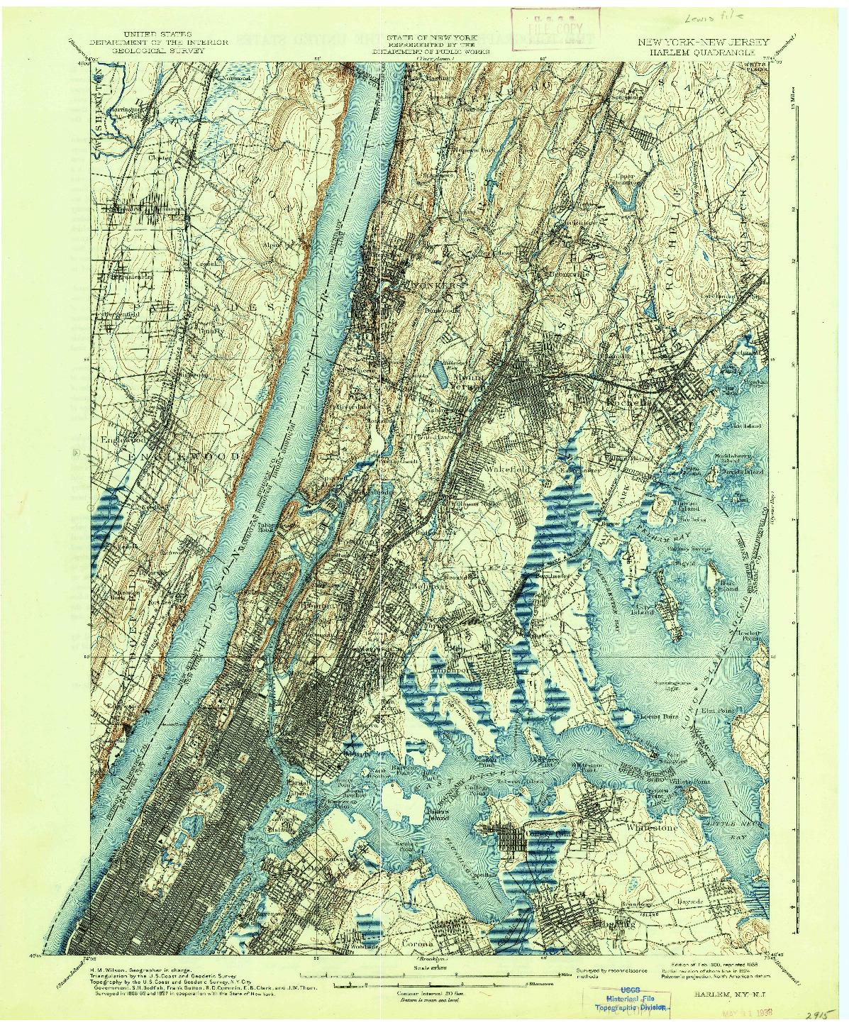 USGS 1:62500-SCALE QUADRANGLE FOR HARLEM, NY 1900