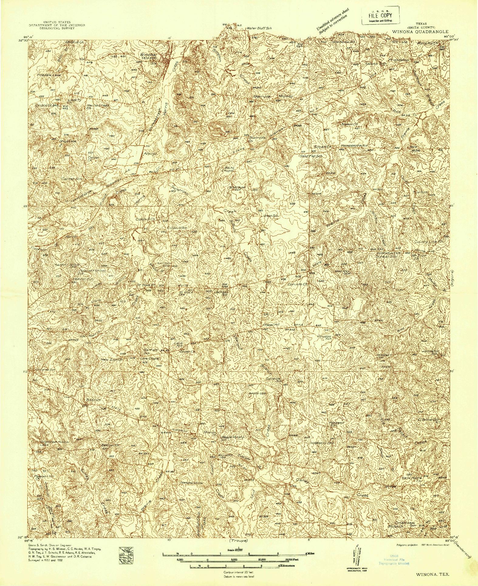 USGS 1:48000-SCALE QUADRANGLE FOR WINONA, TX 1938