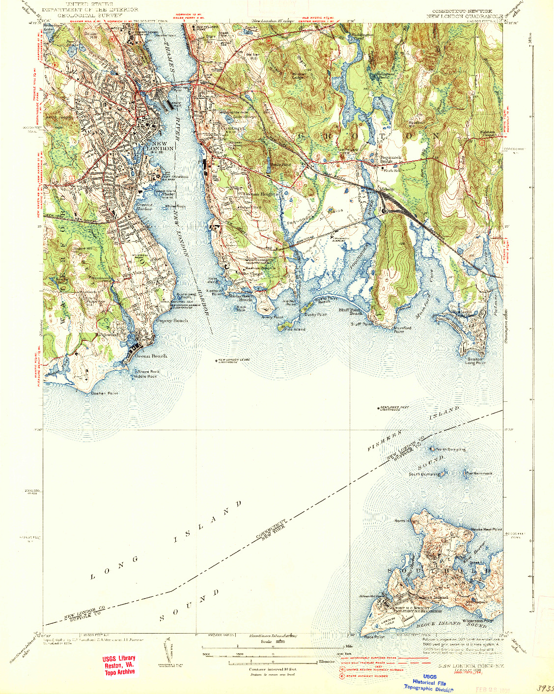 USGS 1:31680-SCALE QUADRANGLE FOR NEW LONDON, CT 1938