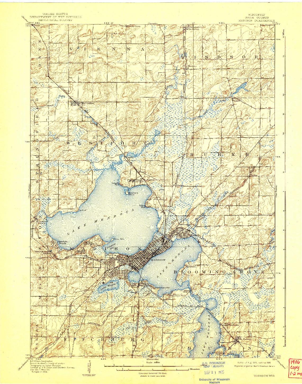 USGS 1:62500-SCALE QUADRANGLE FOR MADISON, WI 1906