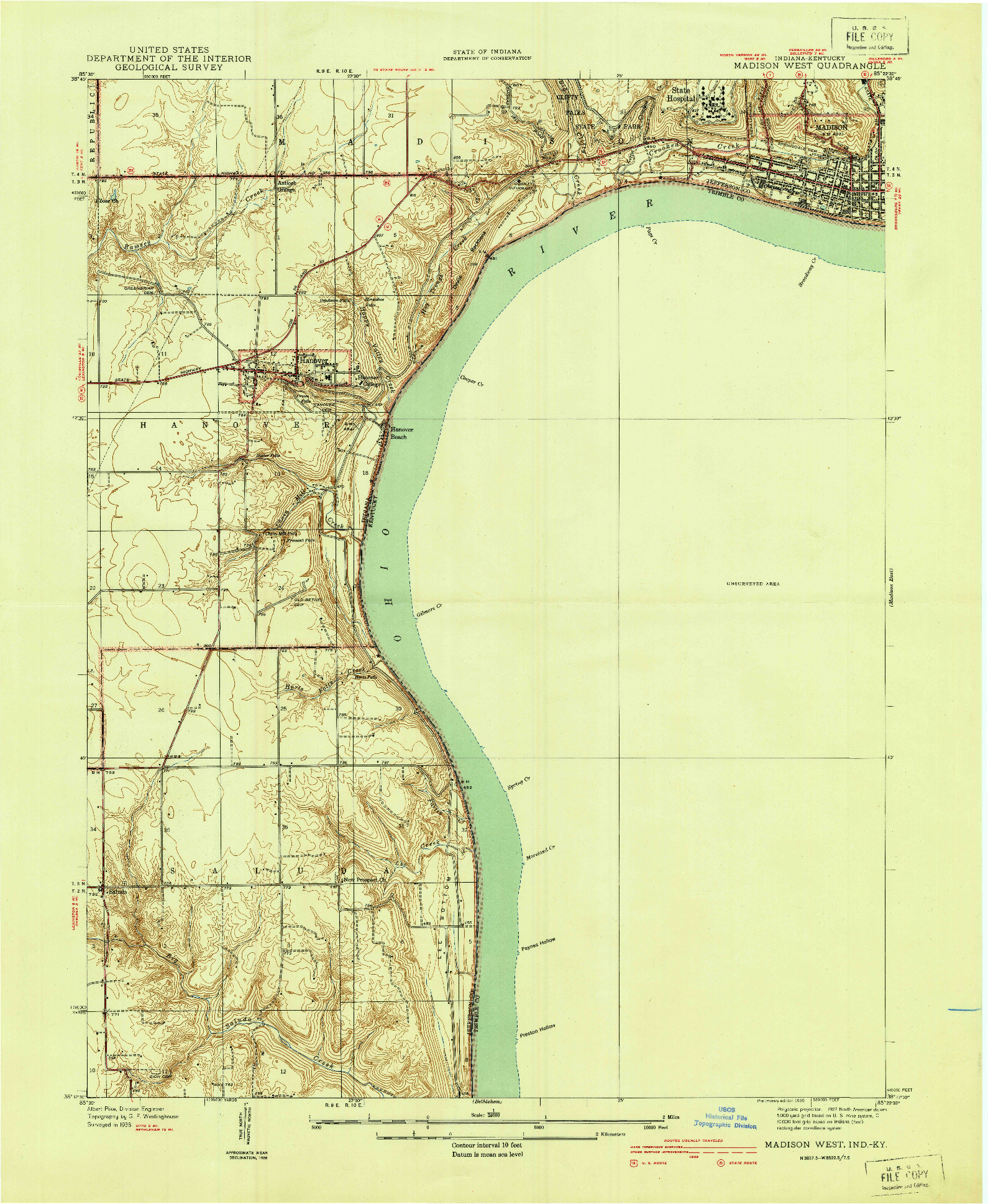 USGS 1:24000-SCALE QUADRANGLE FOR MADISON WEST, IN 1939