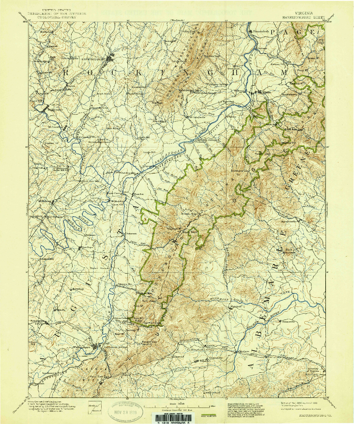 USGS 1:125000-SCALE QUADRANGLE FOR HARRISONBURG, VA 1892