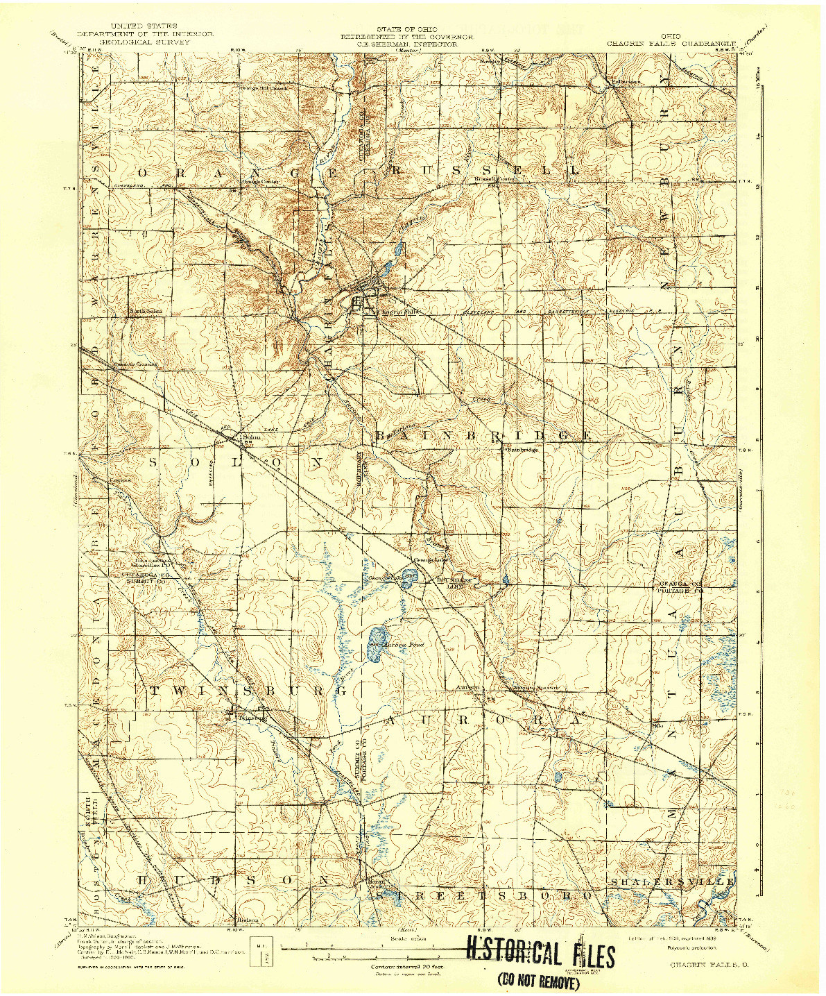 USGS 1:62500-SCALE QUADRANGLE FOR CHAGRIN FALLS, OH 1908