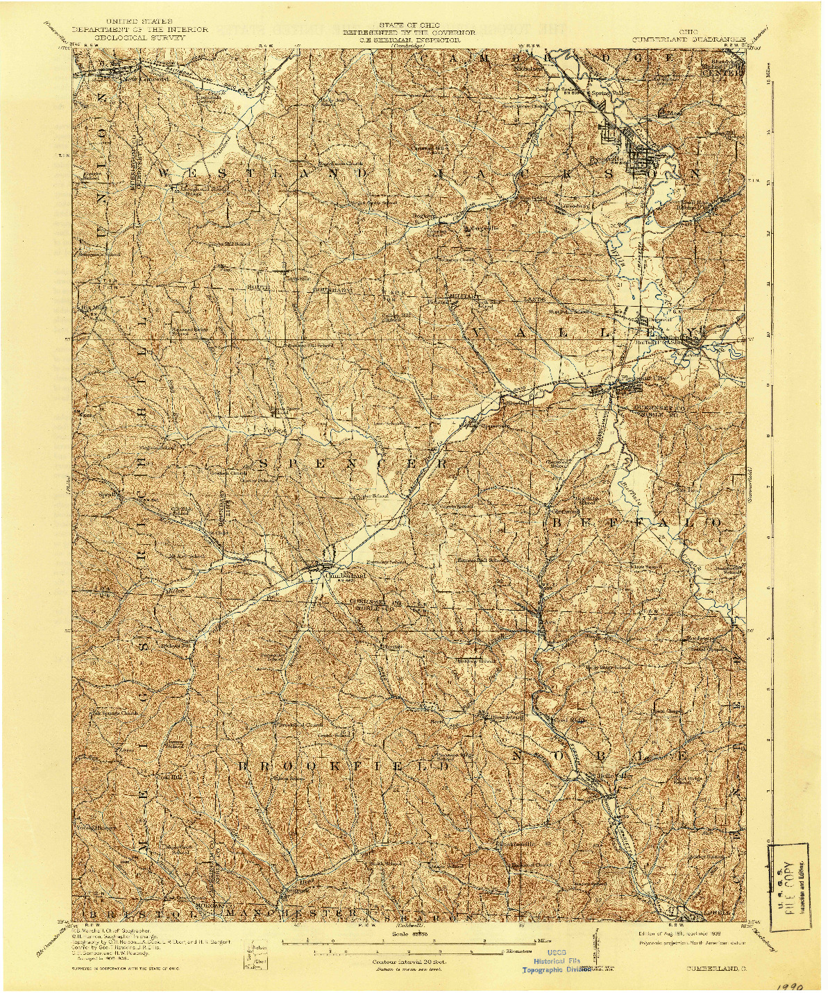 USGS 1:62500-SCALE QUADRANGLE FOR CUMBERLAND, OH 1911