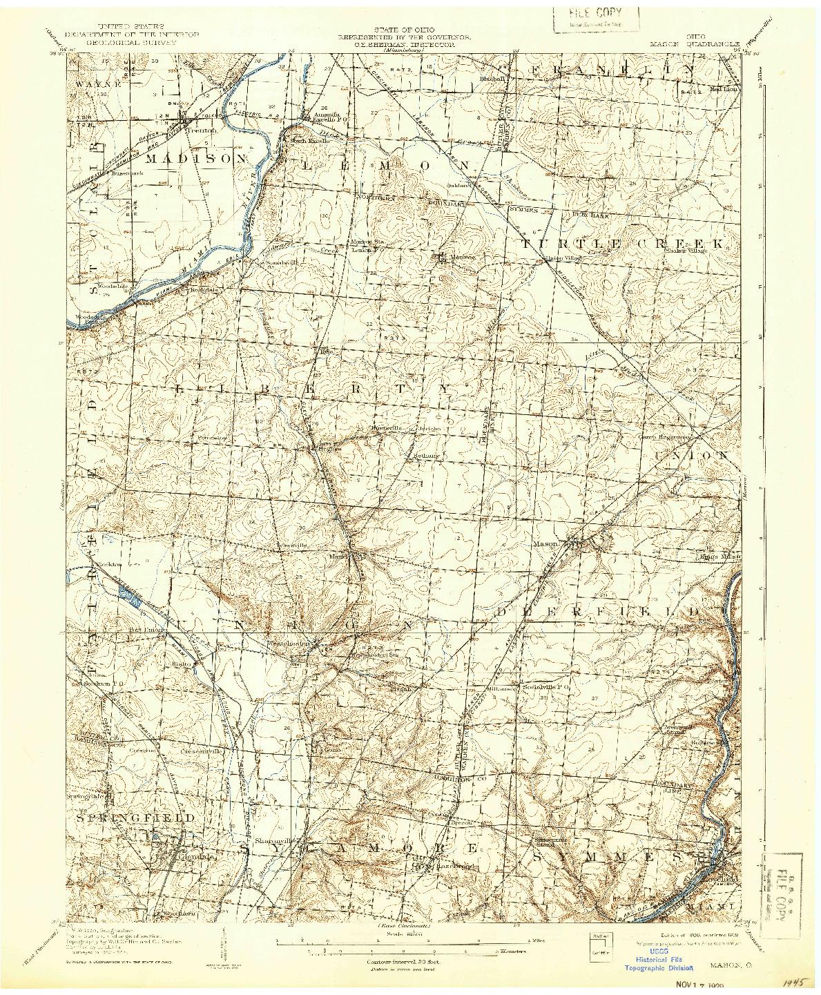 USGS 1:62500-SCALE QUADRANGLE FOR MASON, OH 1906