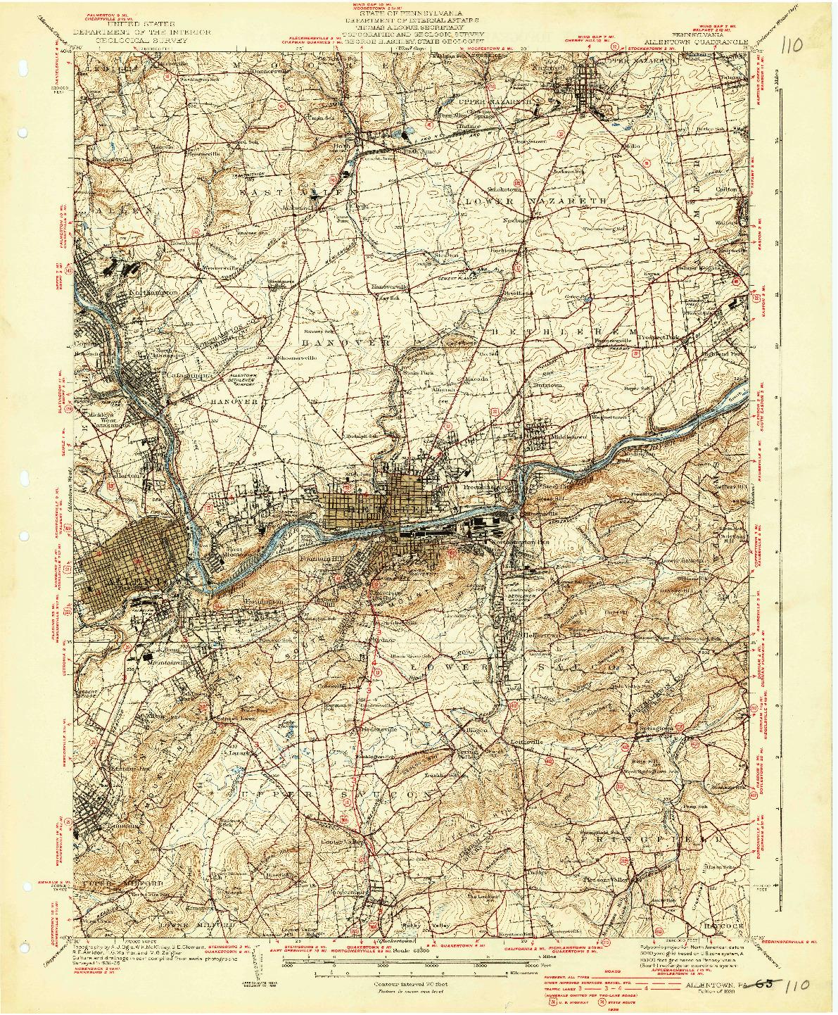 USGS 1:62500-SCALE QUADRANGLE FOR ALLENTOWN, PA 1939