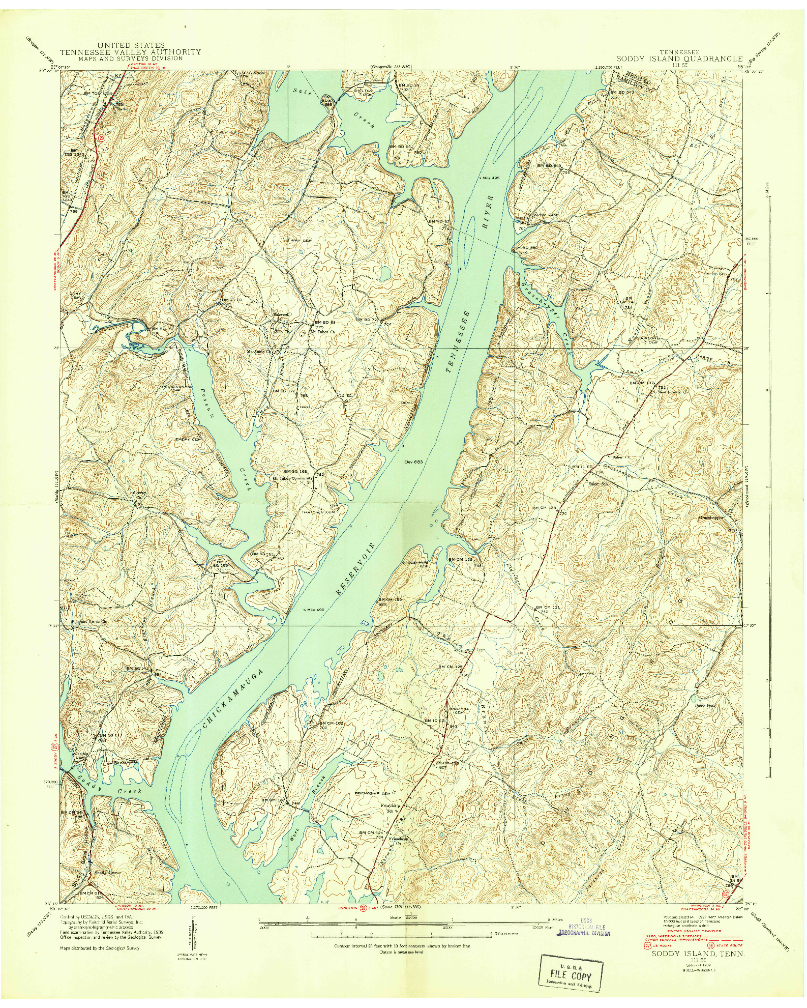 USGS 1:24000-SCALE QUADRANGLE FOR SODDY ISLAND, TN 1939