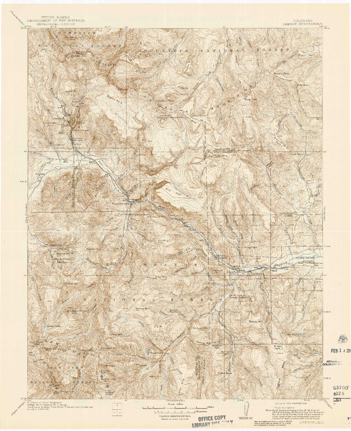 USGS 1:125000-SCALE QUADRANGLE FOR CREEDE, CO 1916
