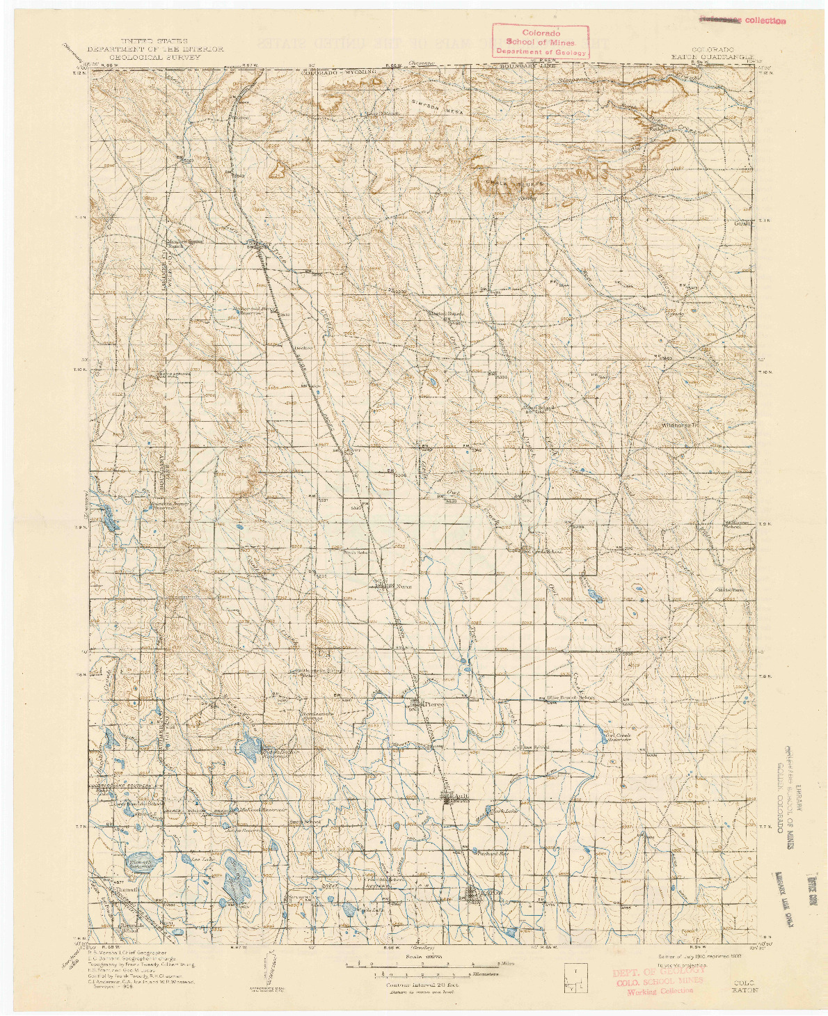 USGS 1:125000-SCALE QUADRANGLE FOR EATON, CO 1910