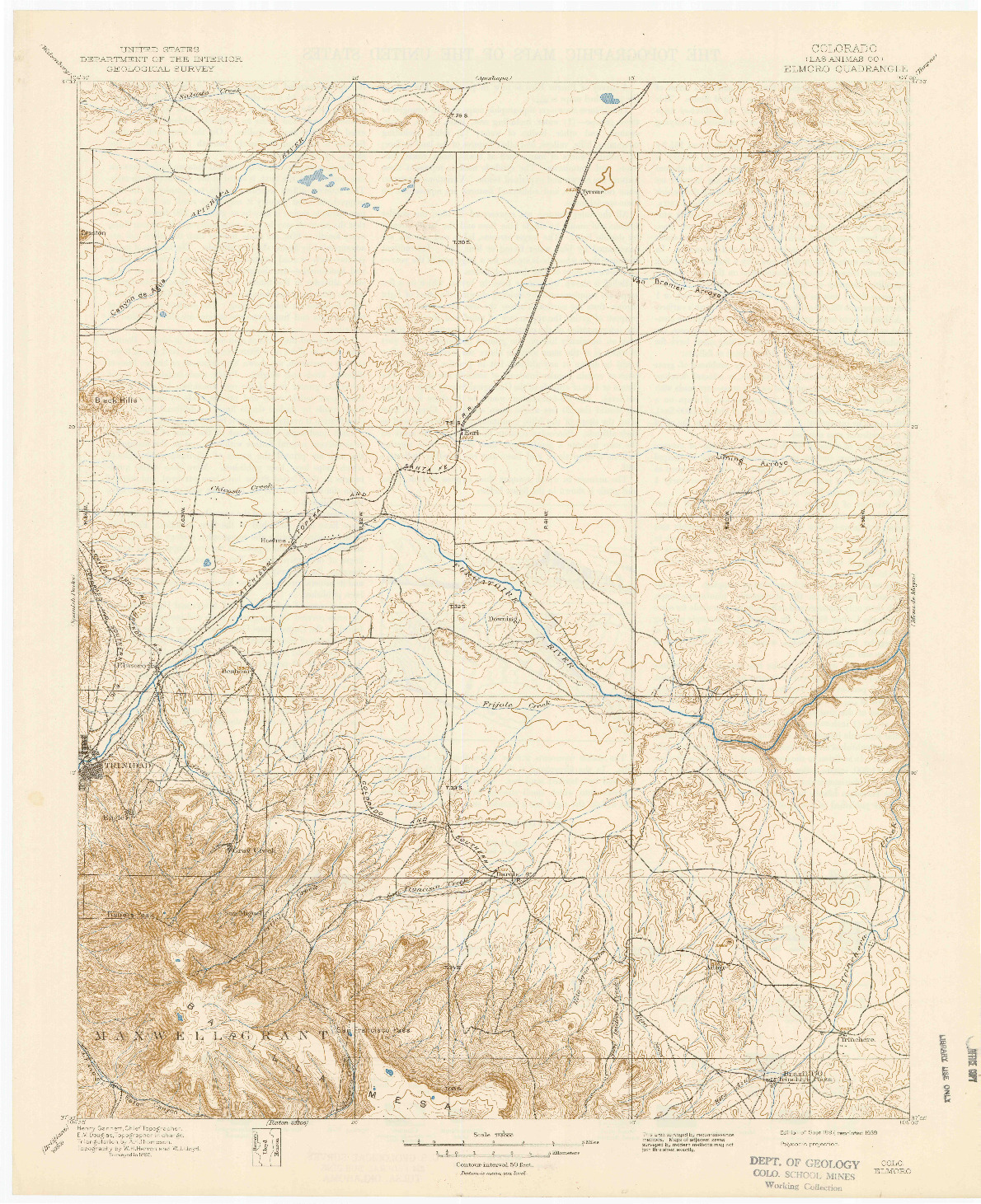 USGS 1:125000-SCALE QUADRANGLE FOR ELMORO, CO 1897