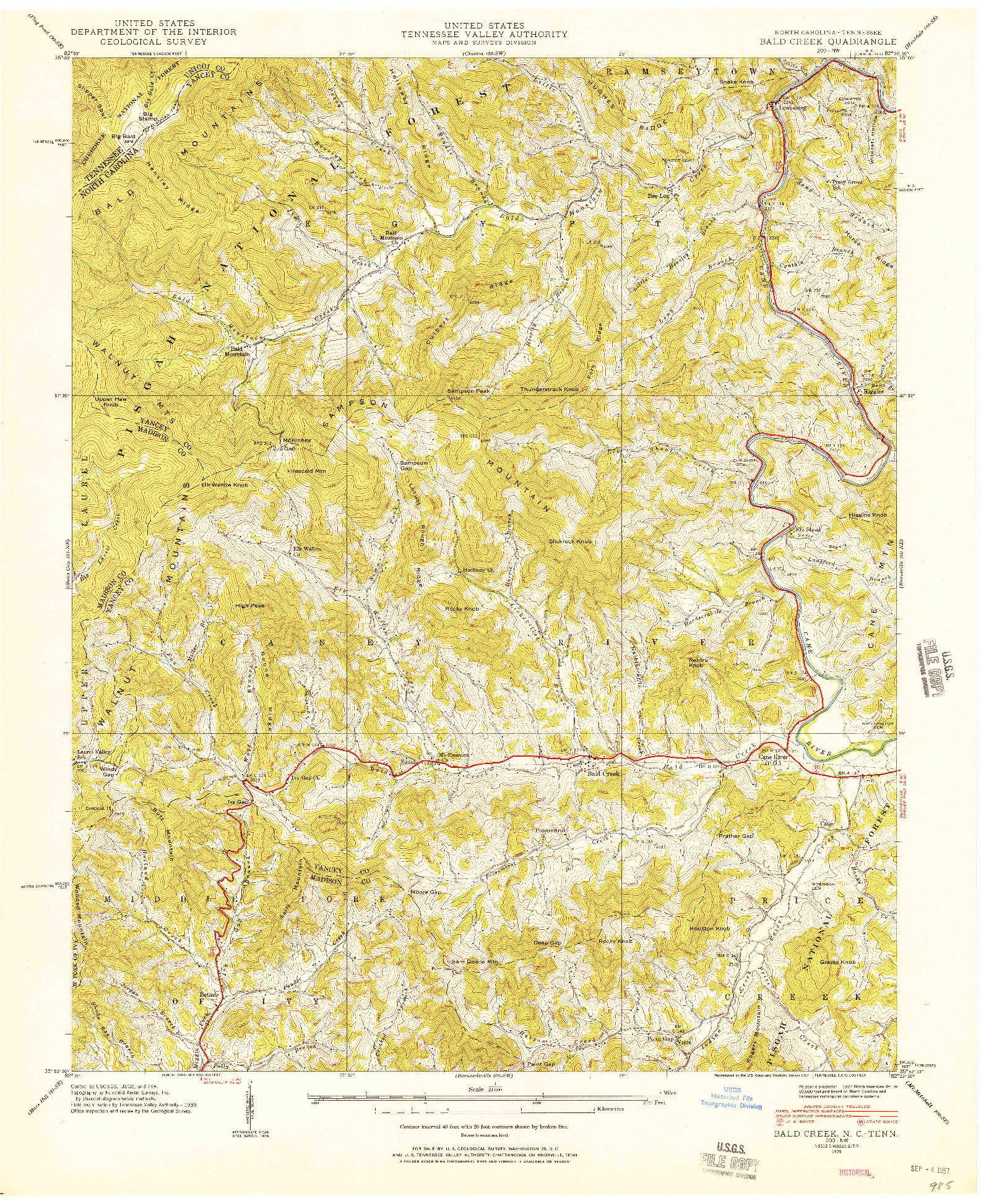 USGS 1:24000-SCALE QUADRANGLE FOR BALD CREEK, NC 1939