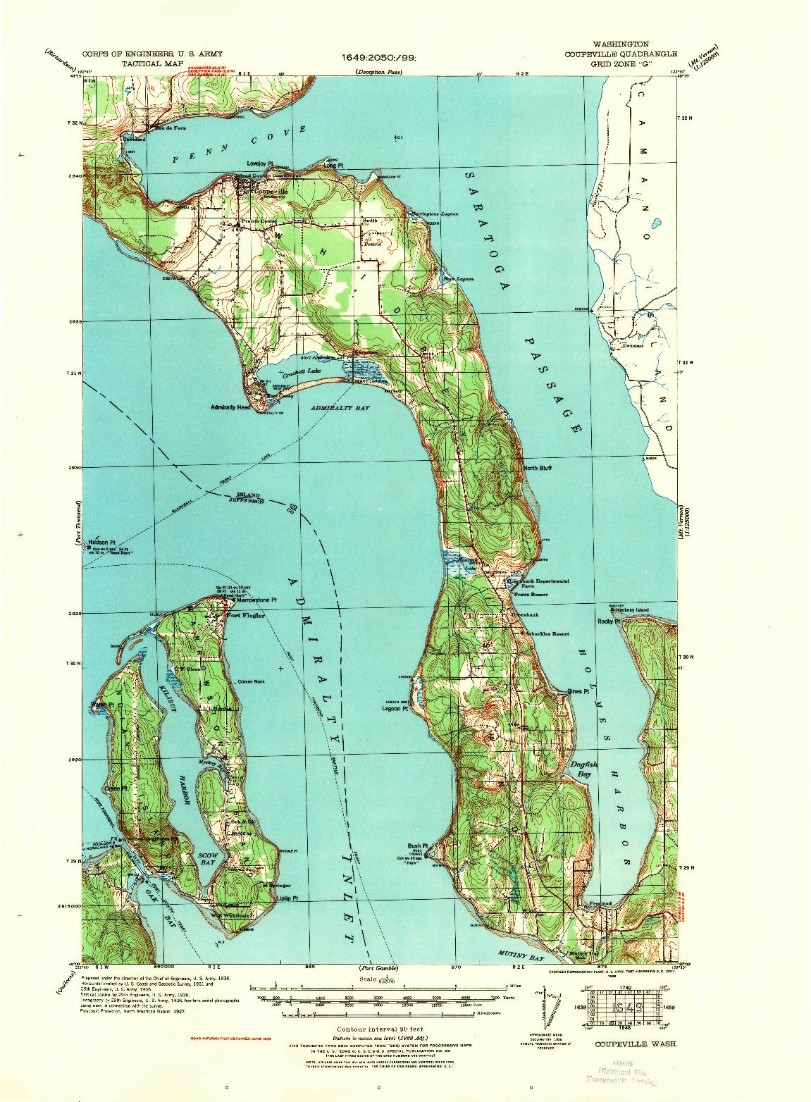 USGS 1:62500-SCALE QUADRANGLE FOR COUPEVILLE, WA 1939