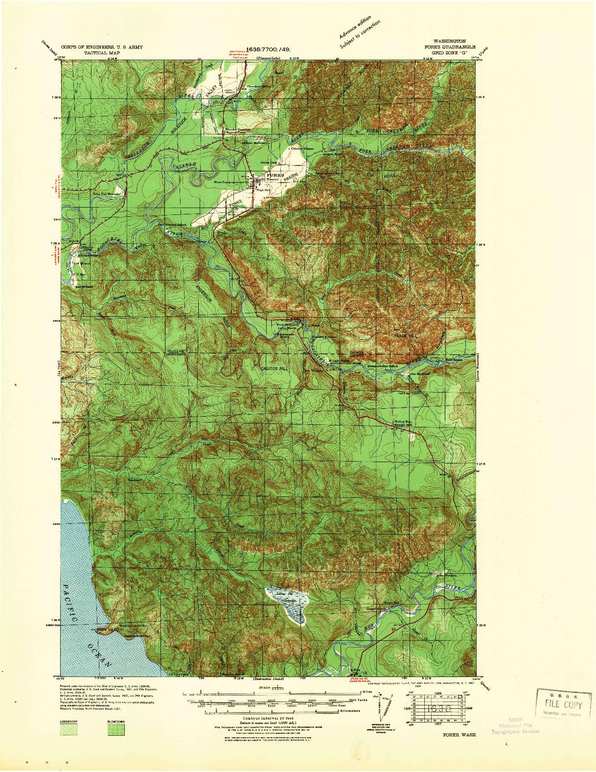 USGS 1:62500-SCALE QUADRANGLE FOR FORKS, WA 1939