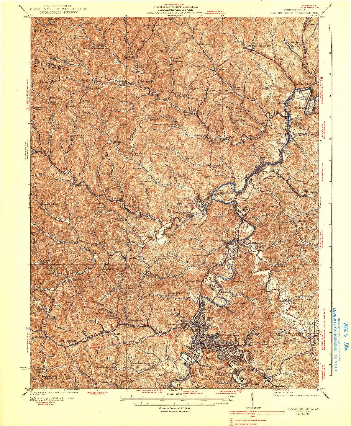 USGS 1:62500-SCALE QUADRANGLE FOR CLARKSBURG, WV 1925
