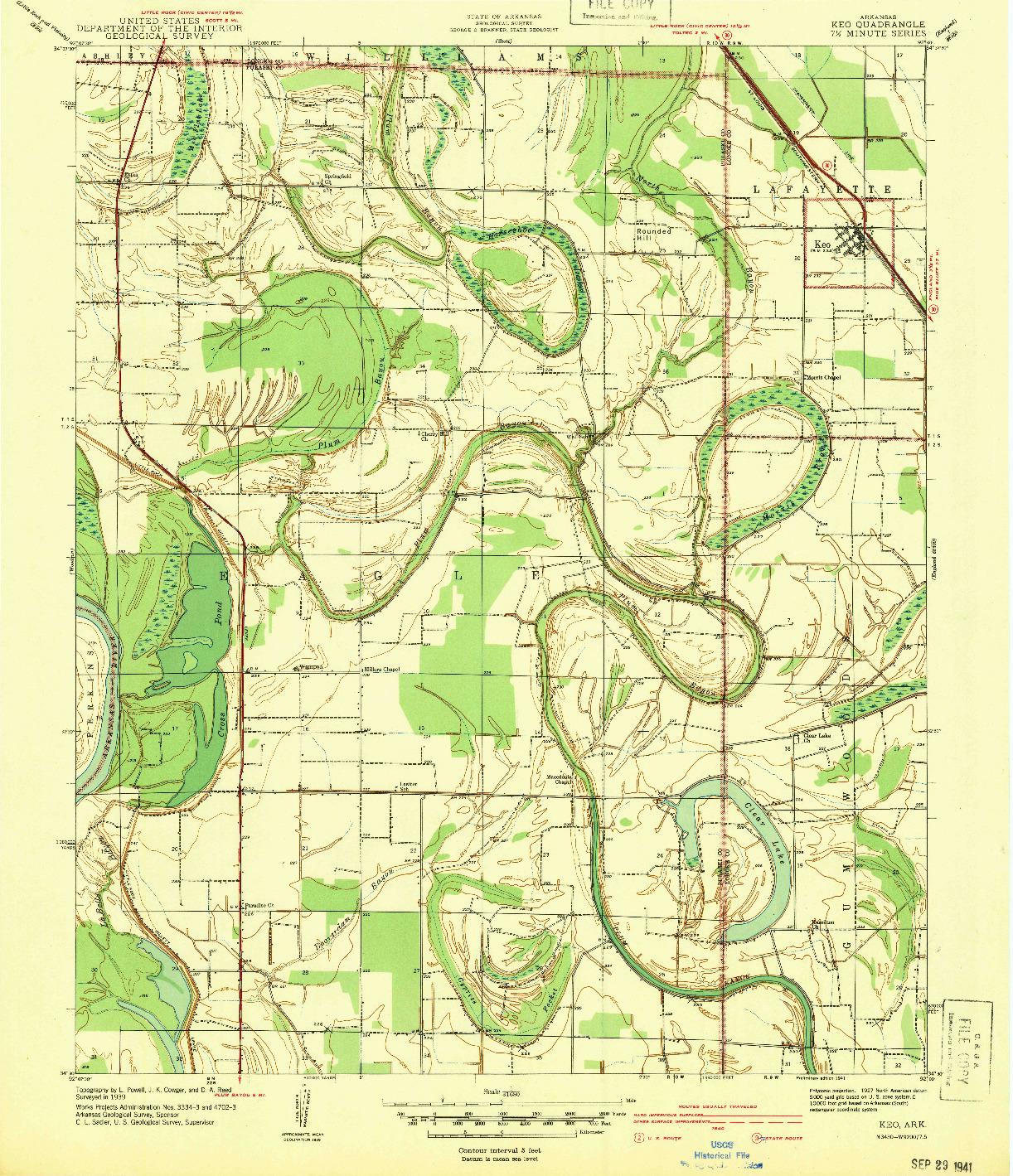 USGS 1:31680-SCALE QUADRANGLE FOR KEO, AR 1939