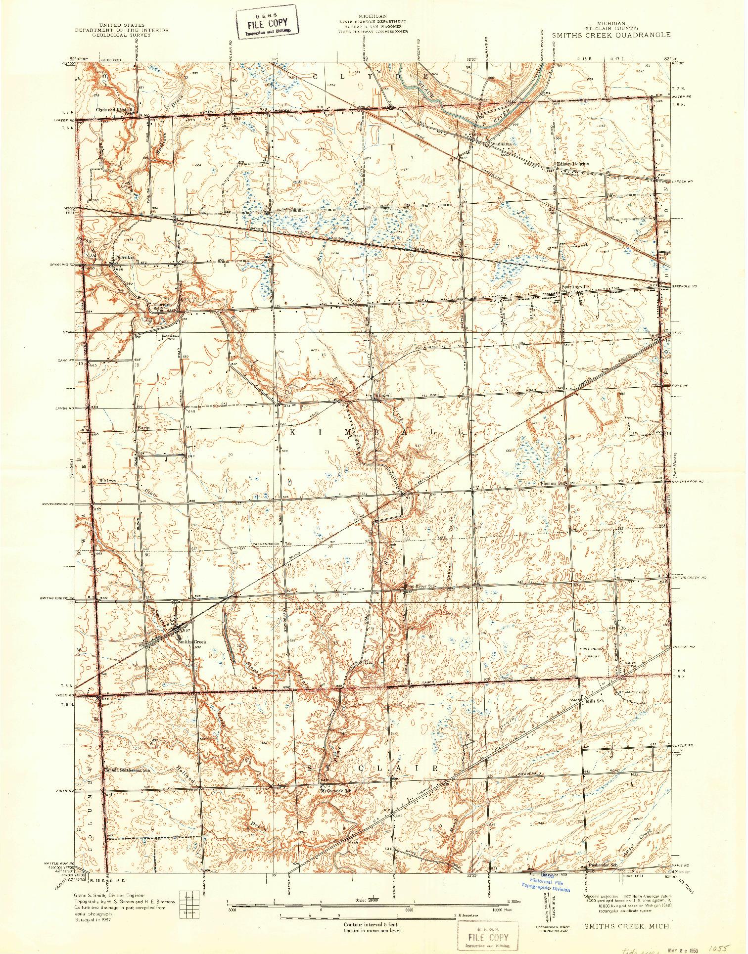 USGS 1:24000-SCALE QUADRANGLE FOR SMITHS CREEK, MI 1939