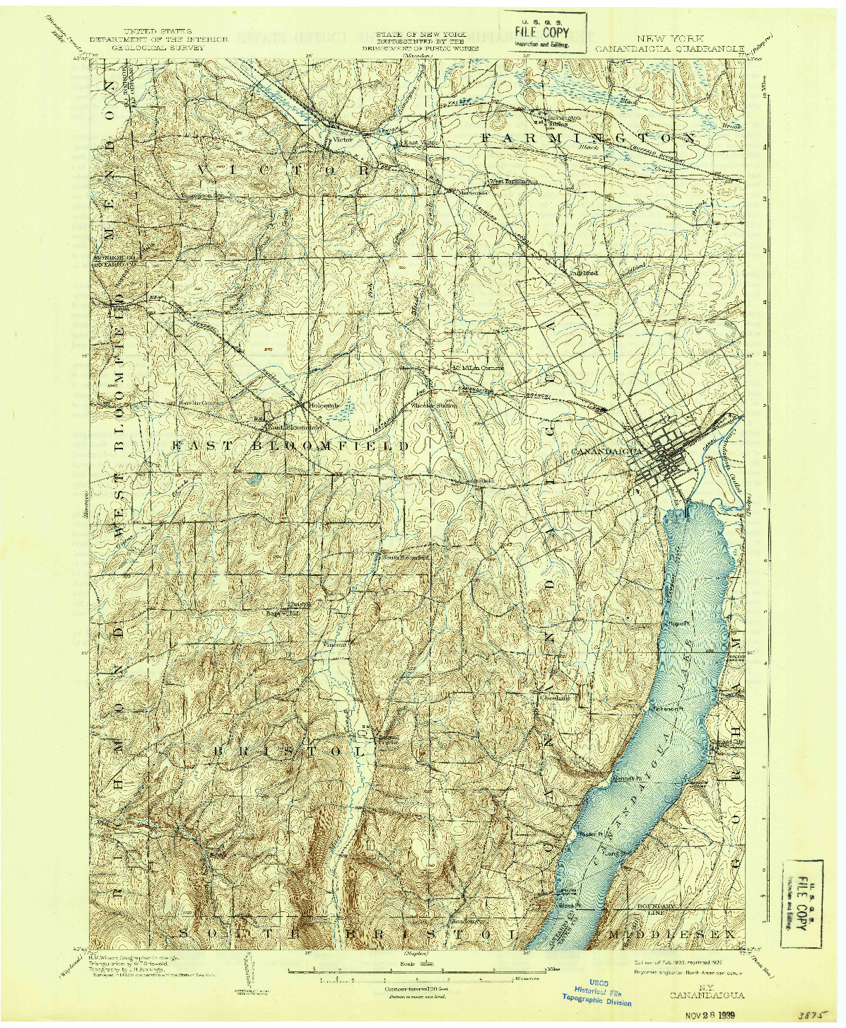 USGS 1:62500-SCALE QUADRANGLE FOR CANANDAIGUA, NY 1903