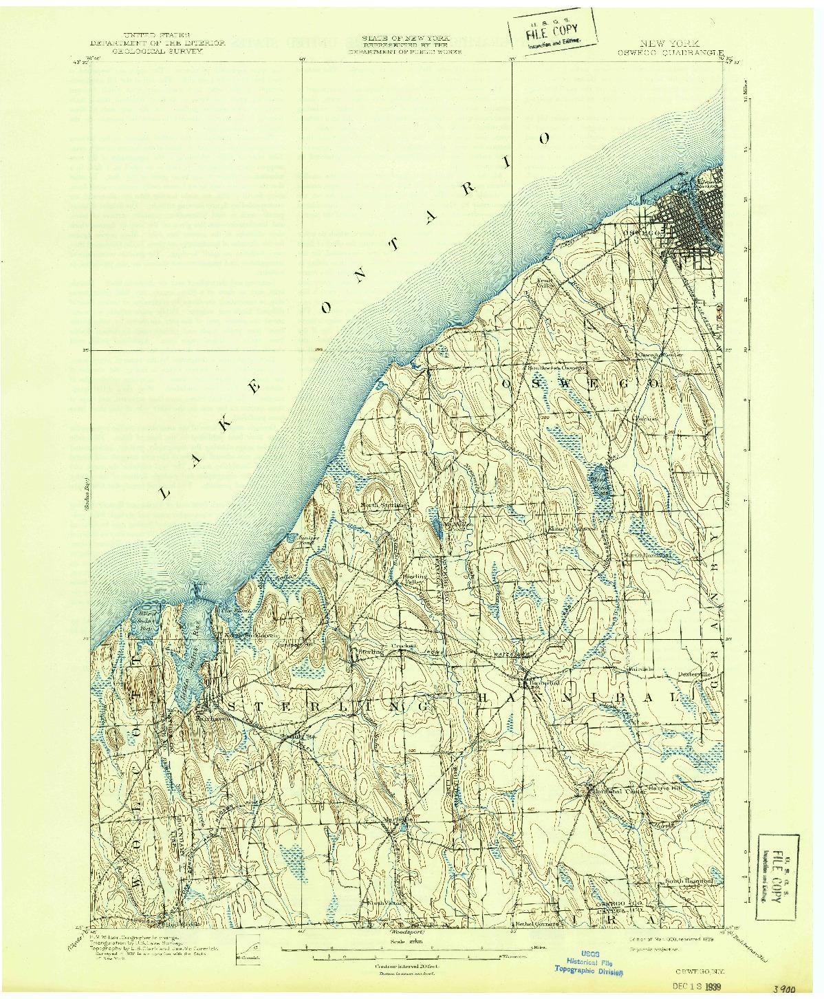 USGS 1:62500-SCALE QUADRANGLE FOR OSWEGO, NY 1900