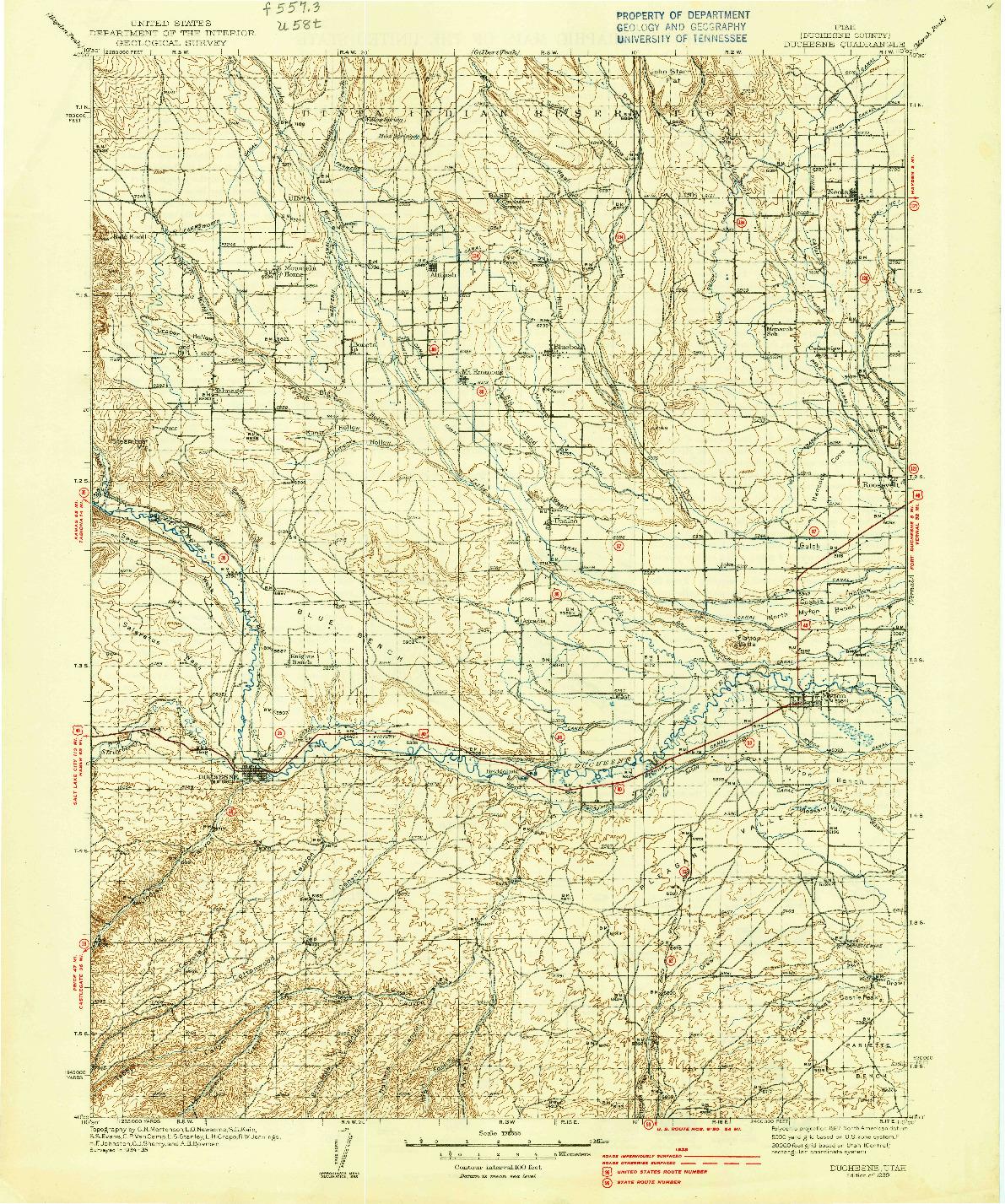 USGS 1:125000-SCALE QUADRANGLE FOR DUCHESNE, UT 1939